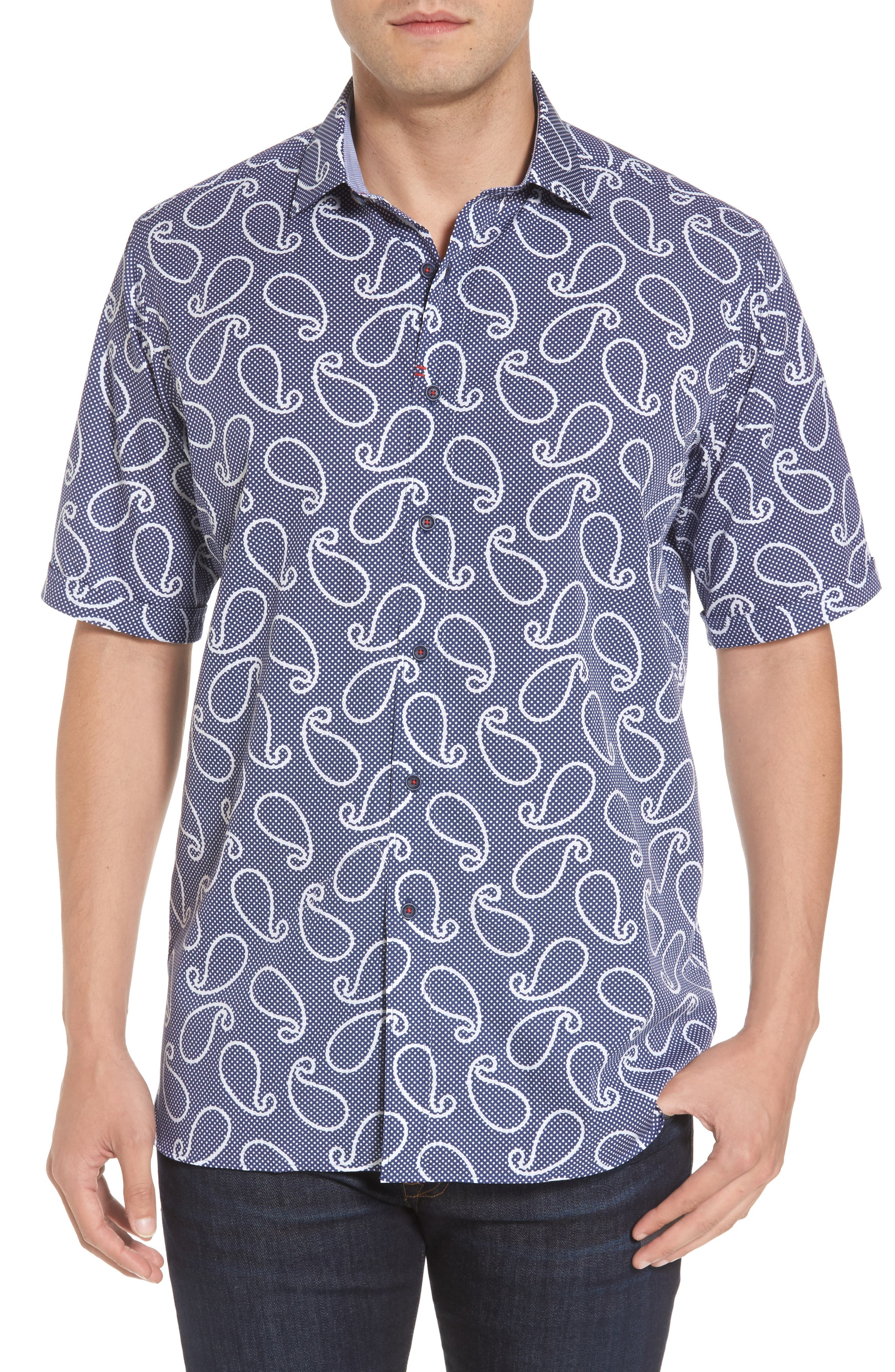 Classic Fit Print Short Sleeve Sport Shirt,                         Main,                         color, Navy