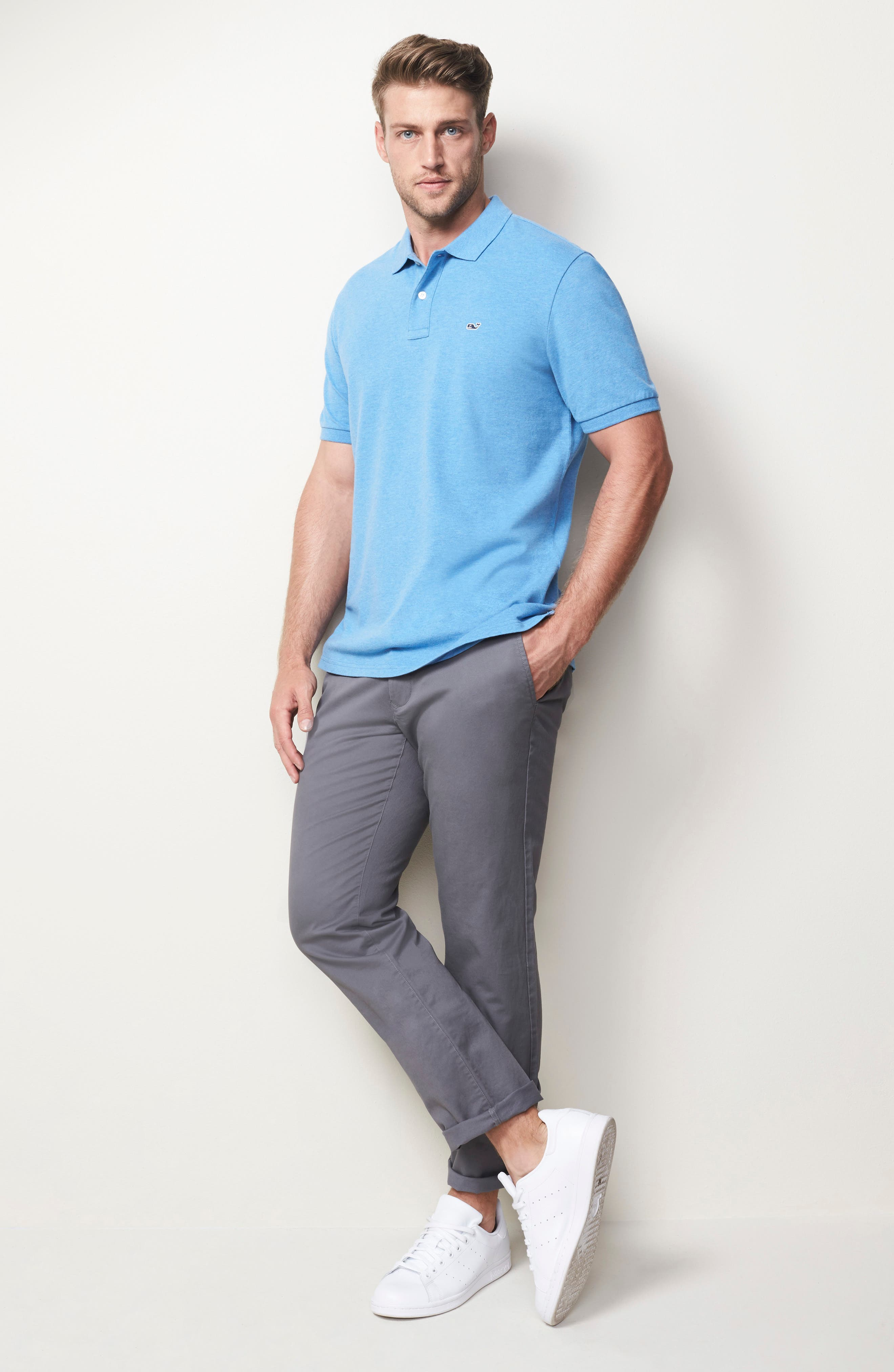 Stretch Piqué Polo,                             Alternate thumbnail 7, color,                             Dockside Blue