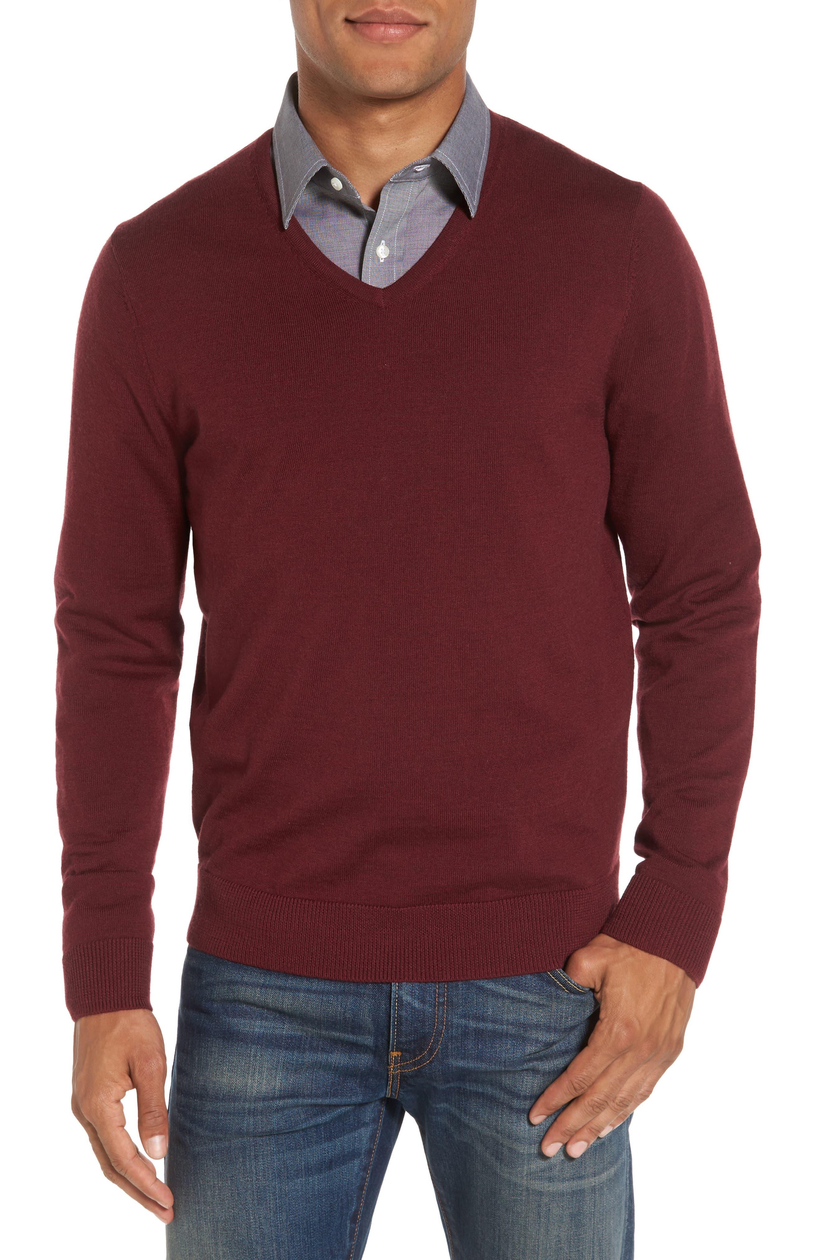 V-Neck Merino Wool Sweater,                             Main thumbnail 1, color,                             Burgundy Stem