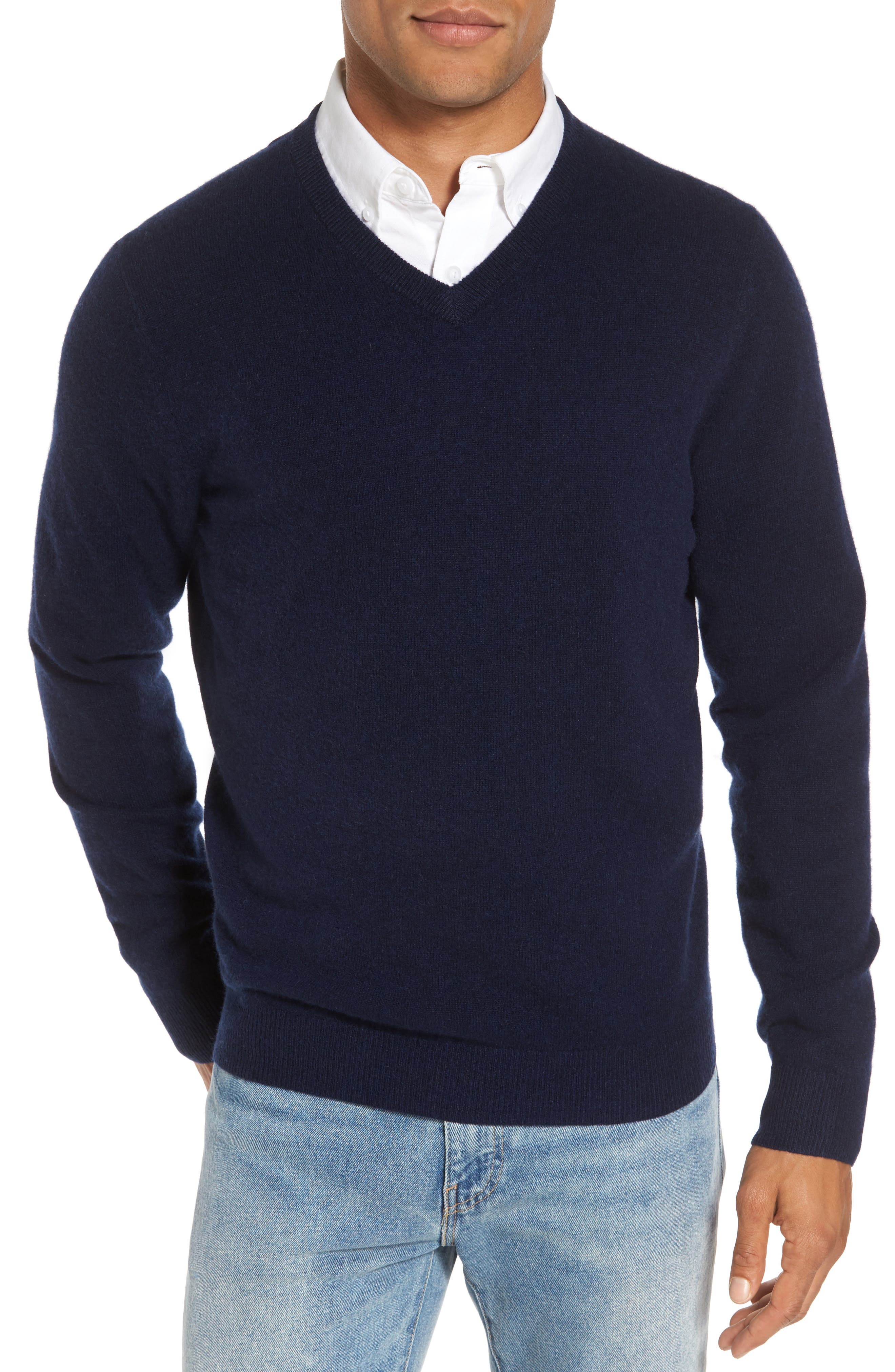 Alternate Image 1 Selected - Nordstrom Men's Shop Cashmere V-Neck Sweater