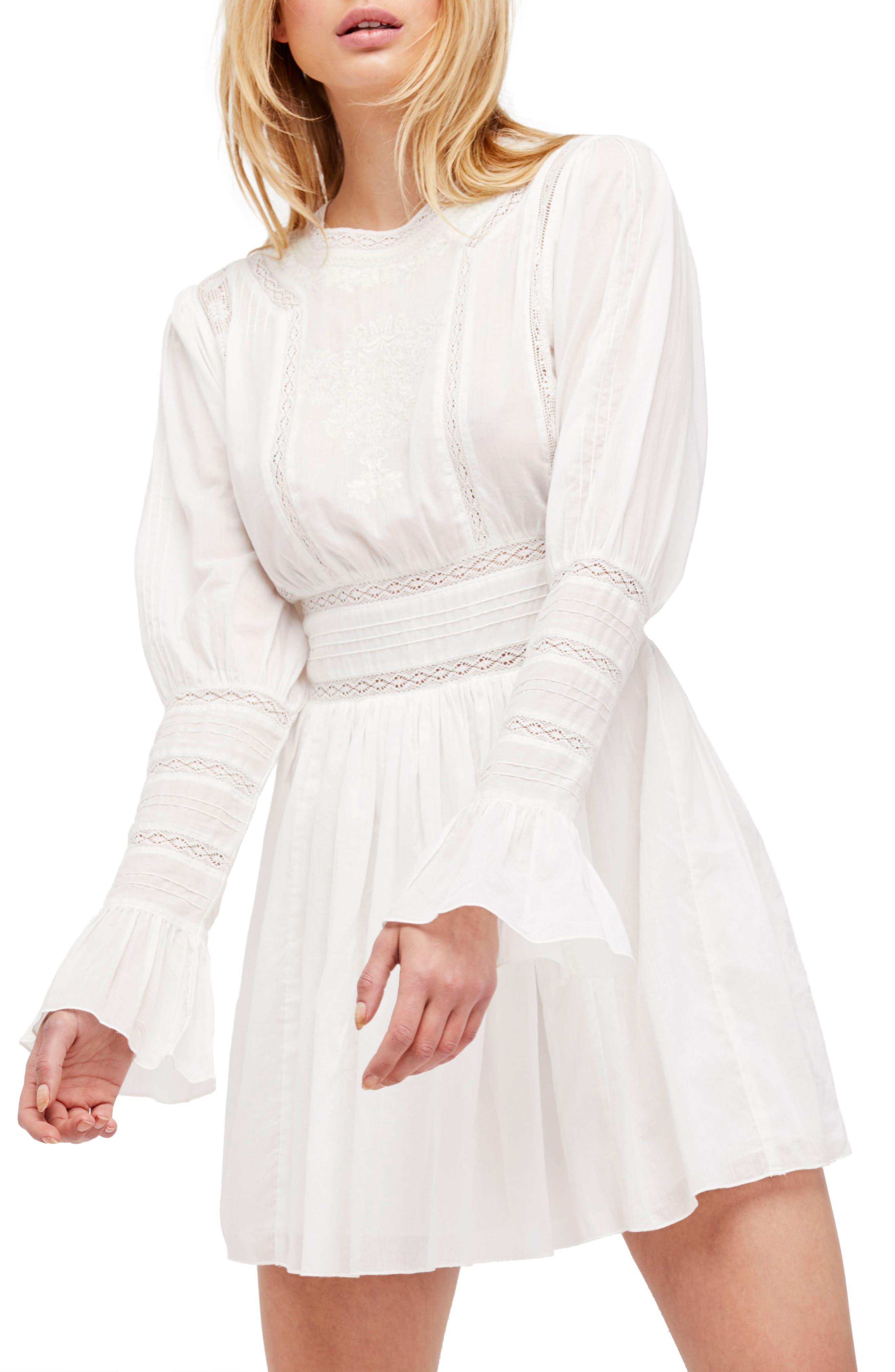 Victorian Minidress,                         Main,                         color, Ivory