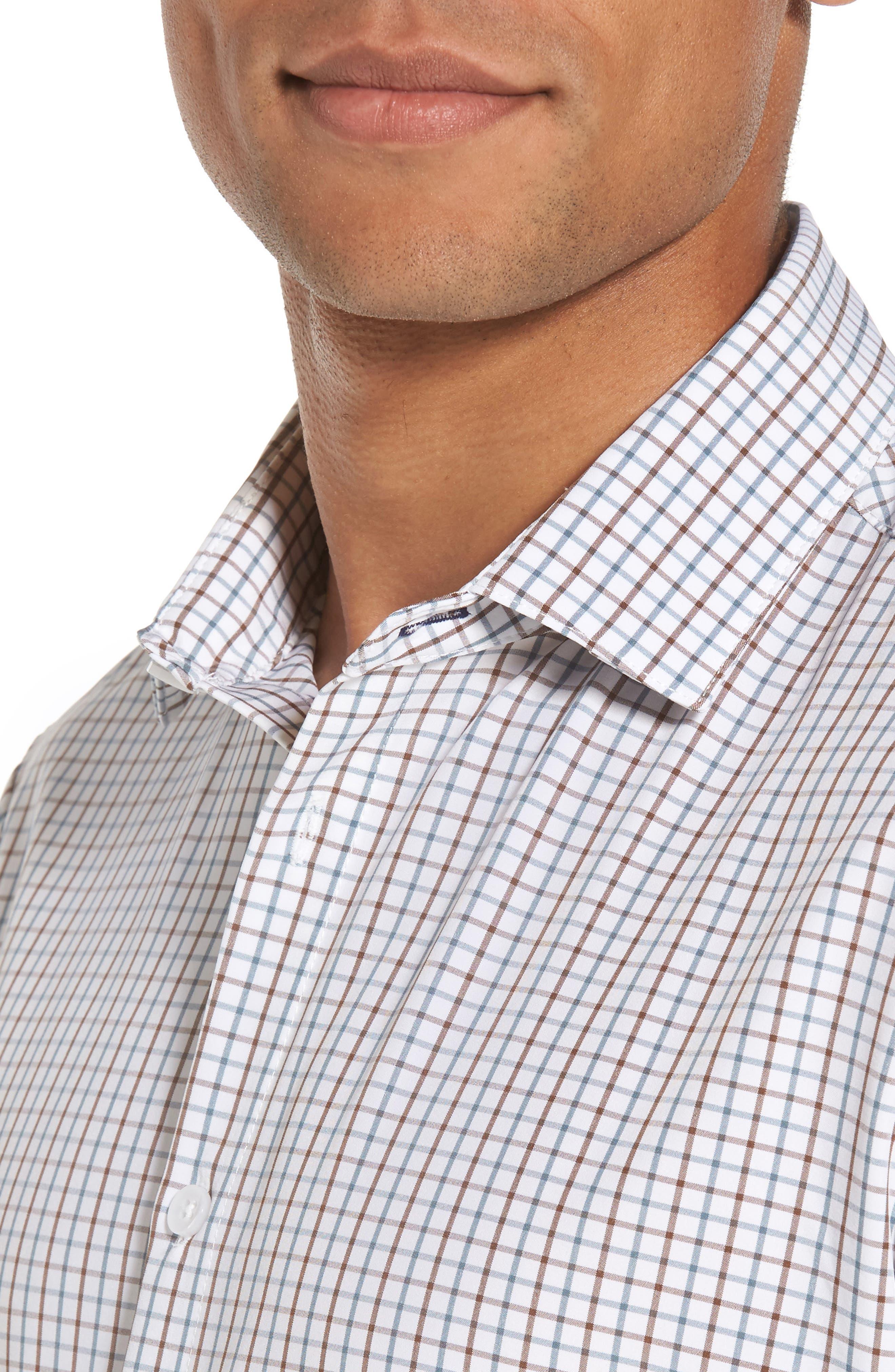 Nolan Slim Fit Tattersall Performance Sport Shirt,                             Alternate thumbnail 4, color,                             White