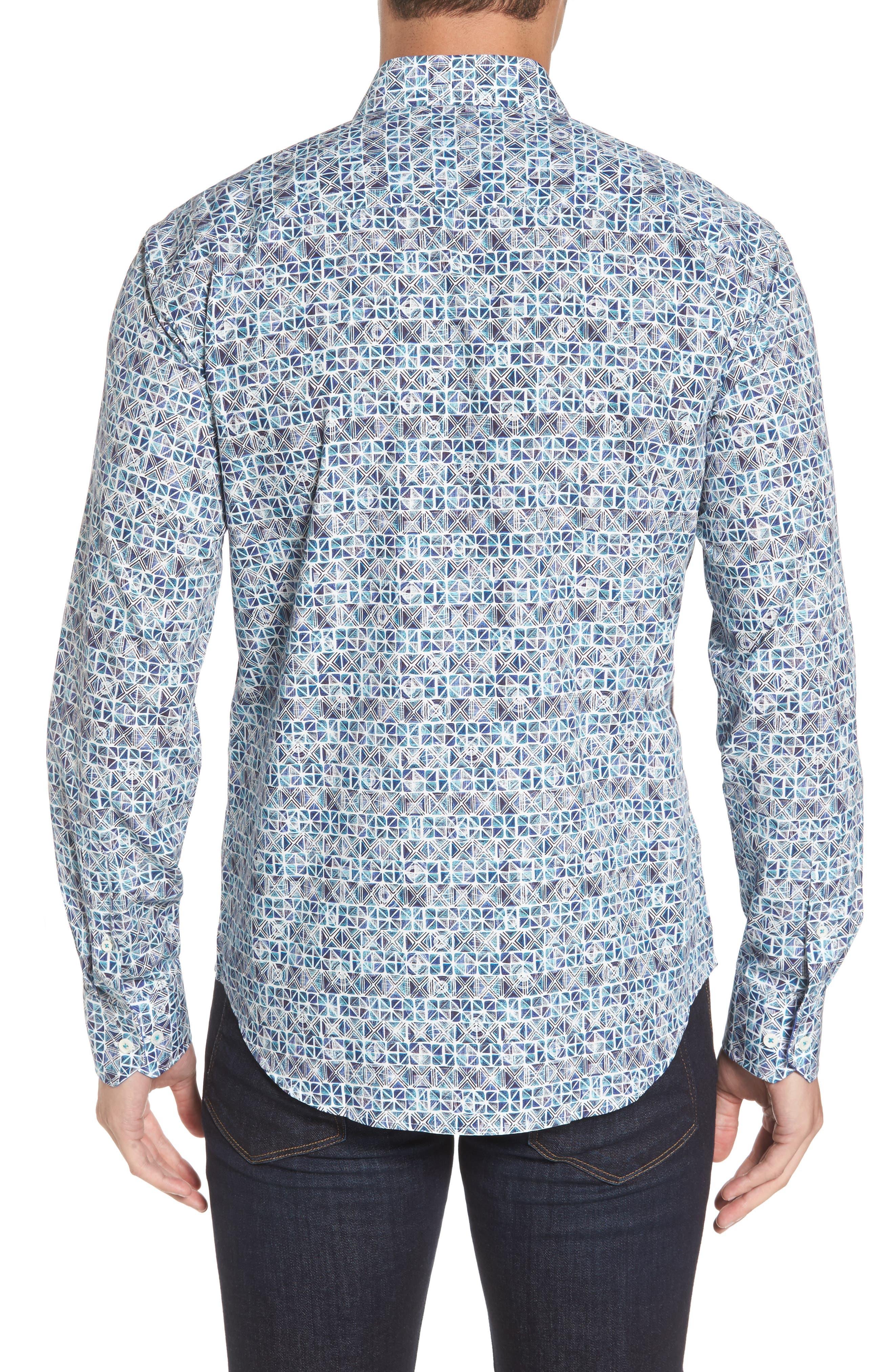 Alternate Image 2  - Bugatchi Shaped Fit Print Sport Shirt