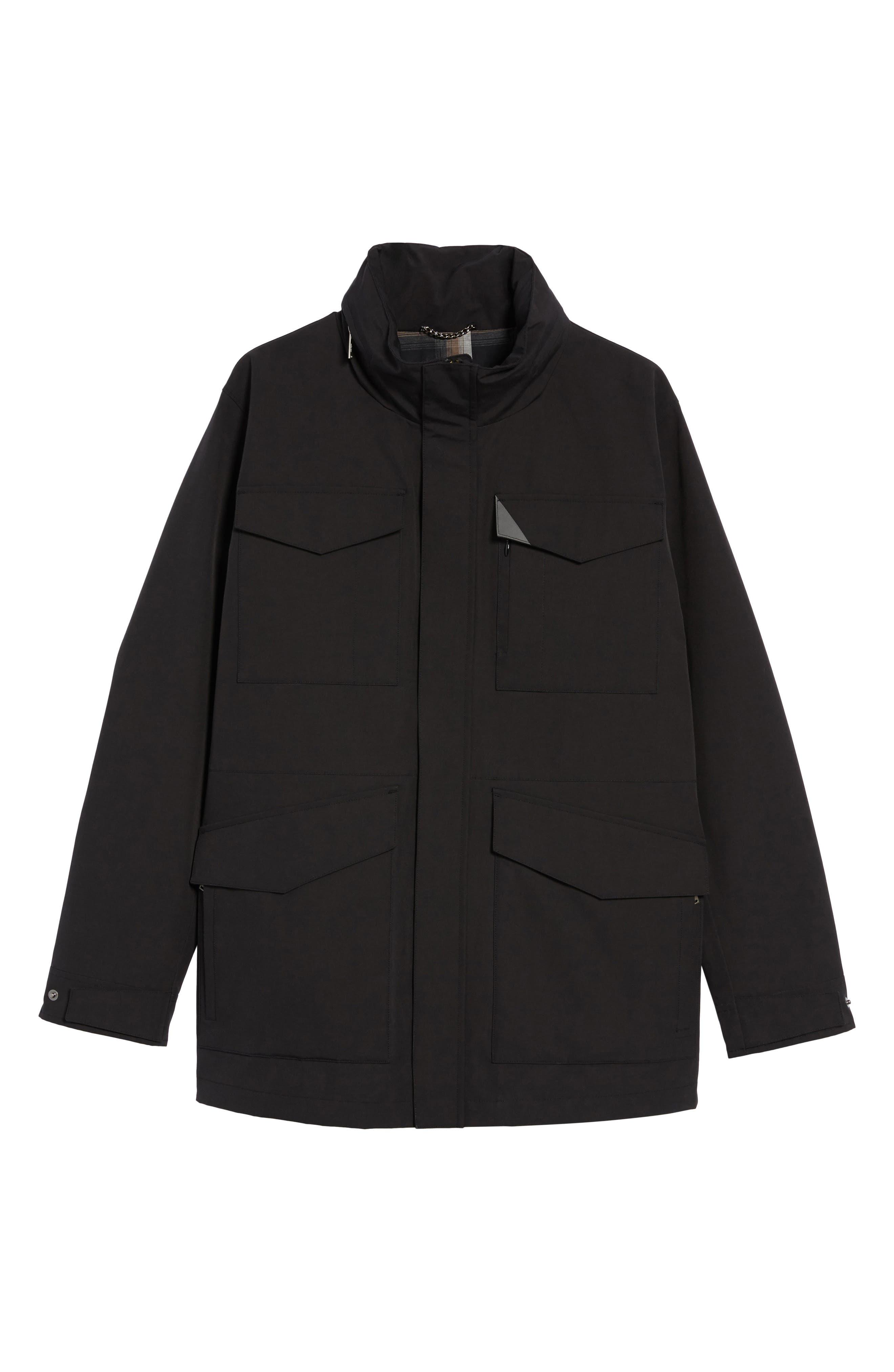 Clyde Hill Waterproof Field Jacket,                             Alternate thumbnail 6, color,                             Black