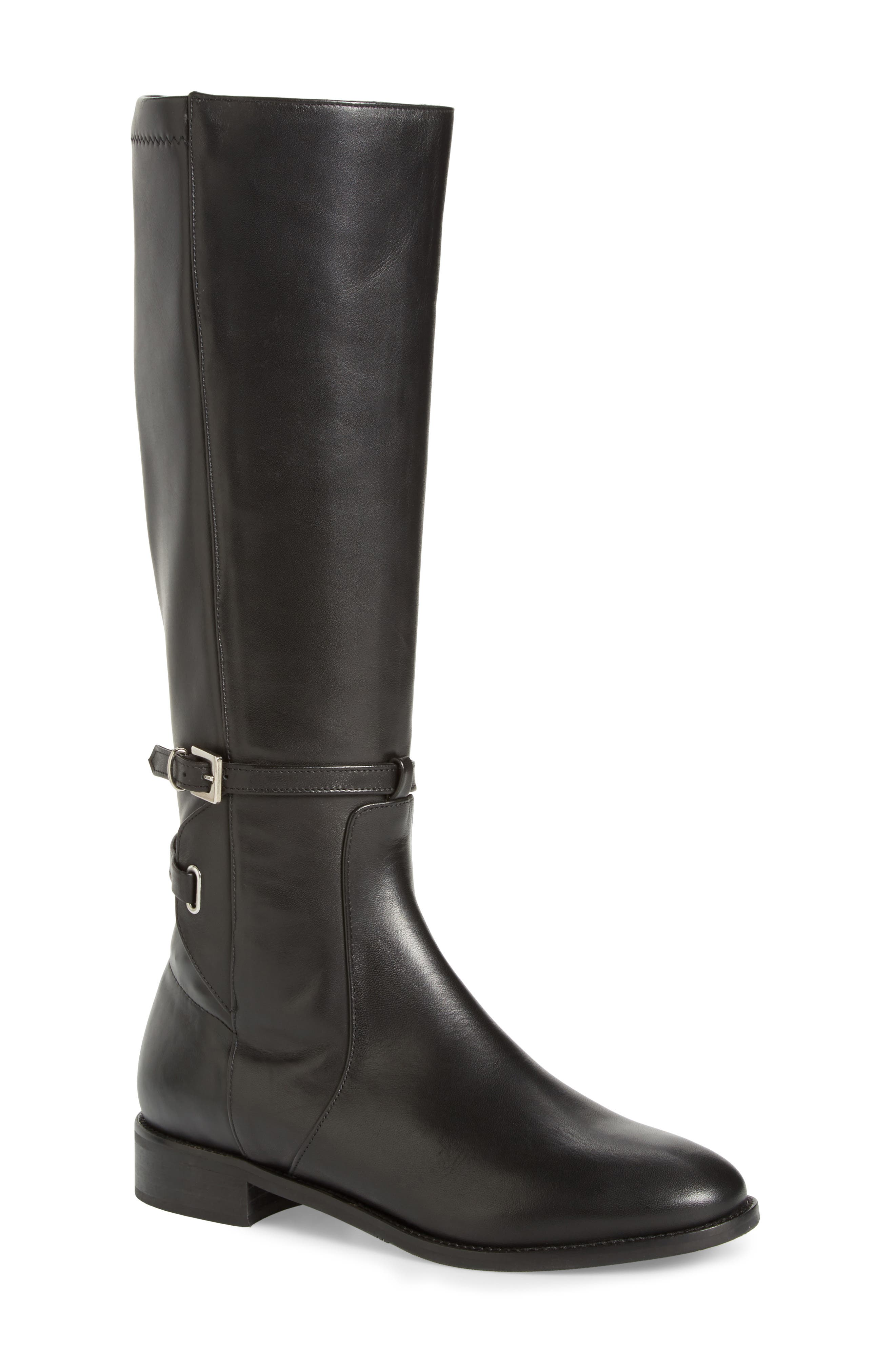 Royce Stretch Back Riding Boot,                             Main thumbnail 1, color,                             Black Stretch Leather