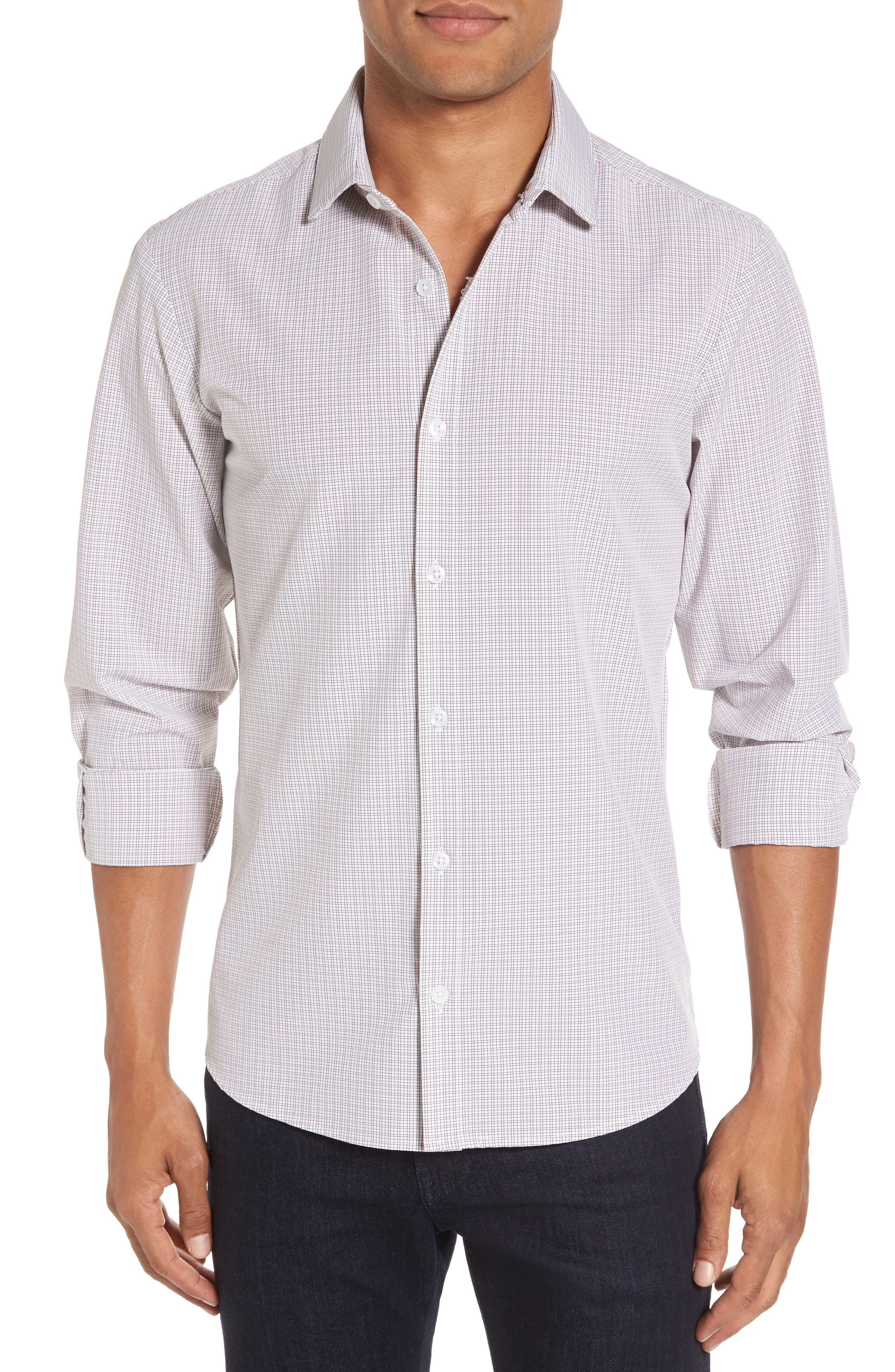 Reed Granite & Burgundy Check Sport Shirt,                             Main thumbnail 1, color,                             Red