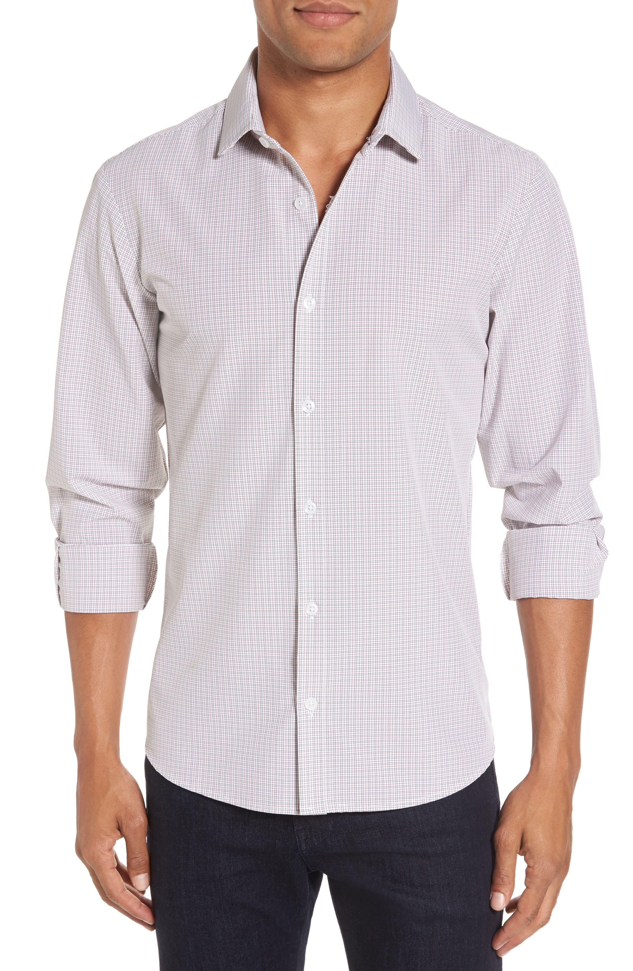 Reed Granite & Burgundy Check Sport Shirt,                         Main,                         color, Red