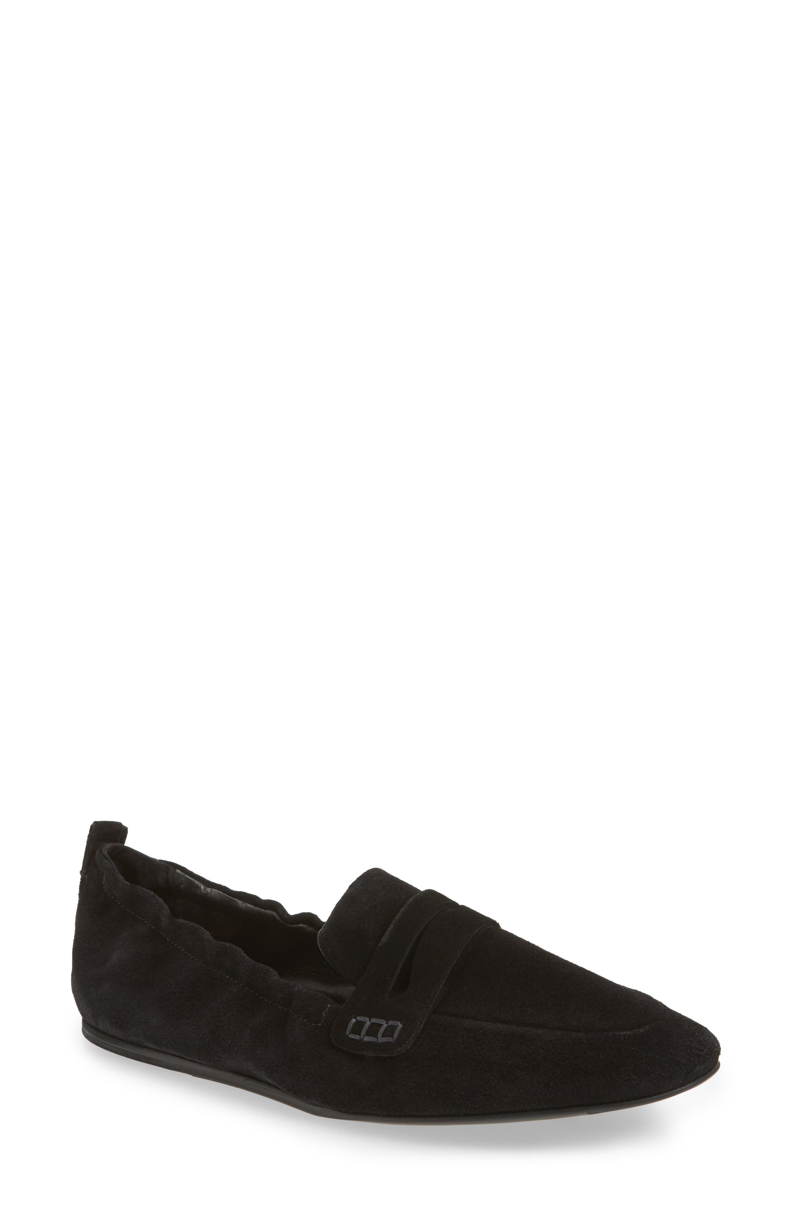 Milly Elastic Loafer Flat,                             Main thumbnail 1, color,                             Black Suede