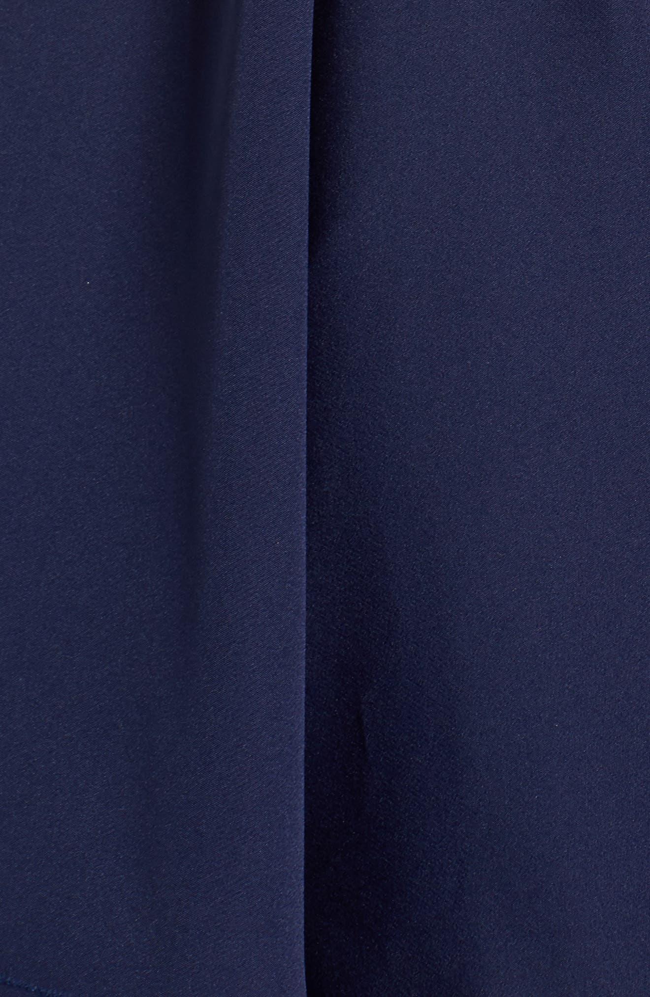 Beaded Illusion Neck Skater Dress,                             Alternate thumbnail 6, color,                             Midnight