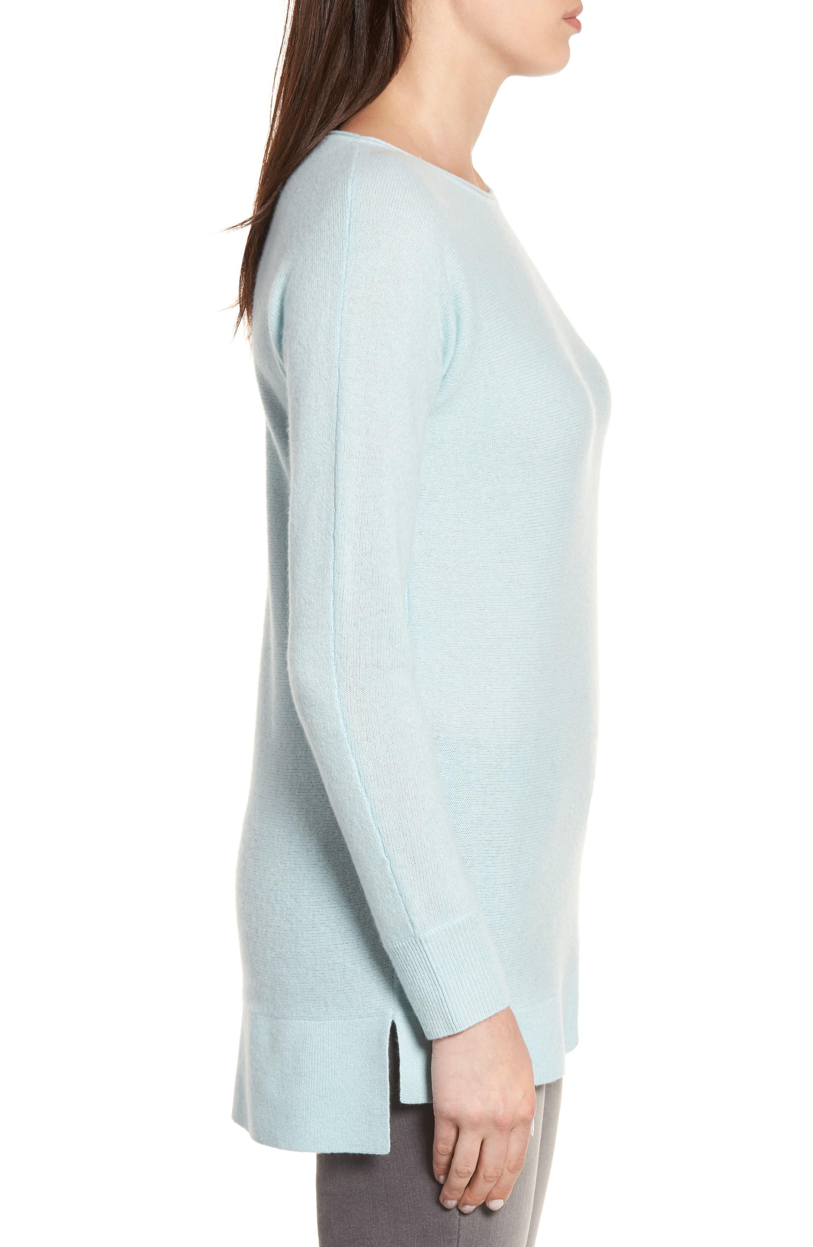 Alternate Image 3  - Halogen® High/Low Wool & Cashmere Tunic Sweater (Regular & Petite)