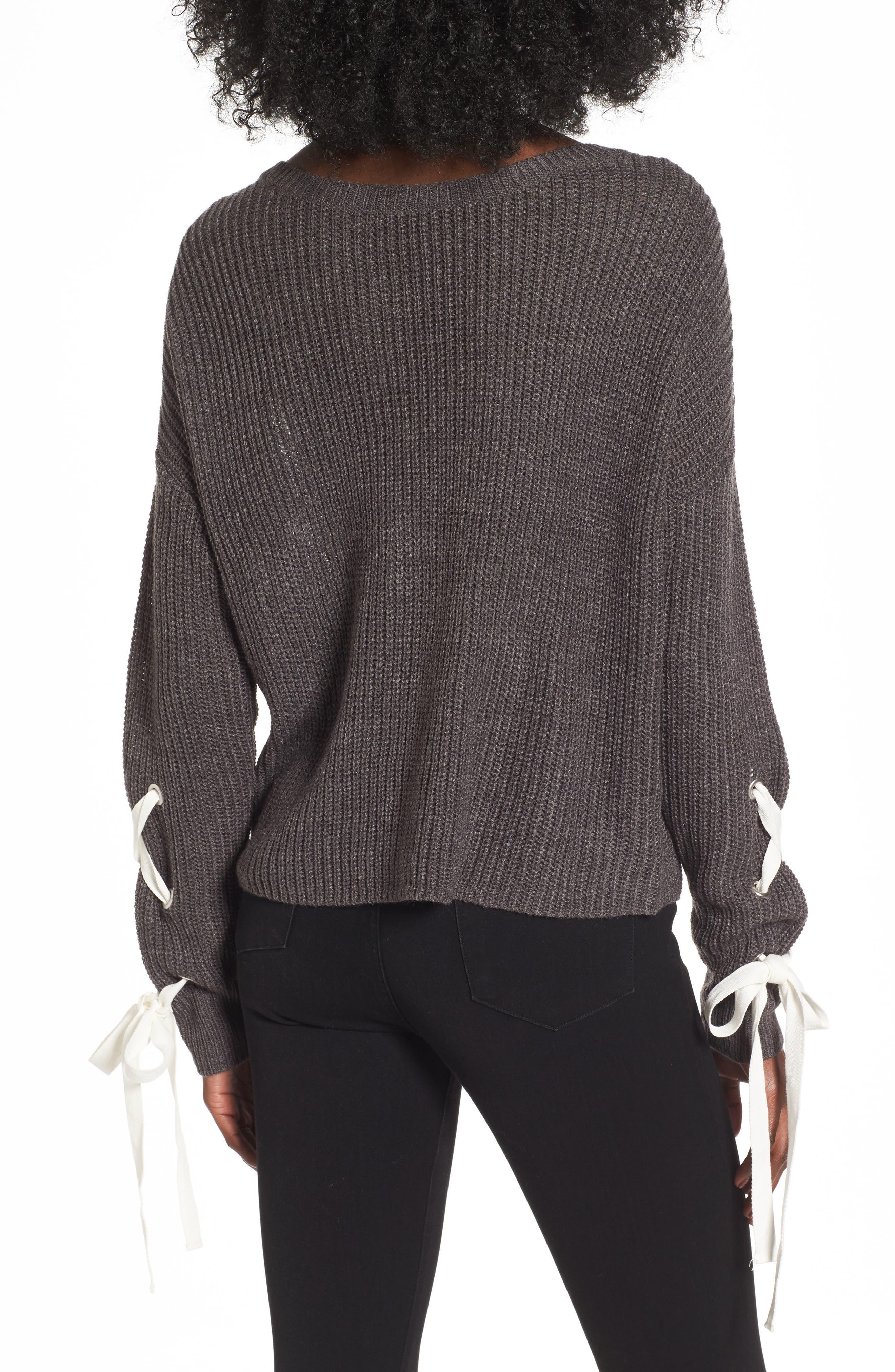 Alternate Image 2  - Madison & Berkeley Laced Sleeve Sweater