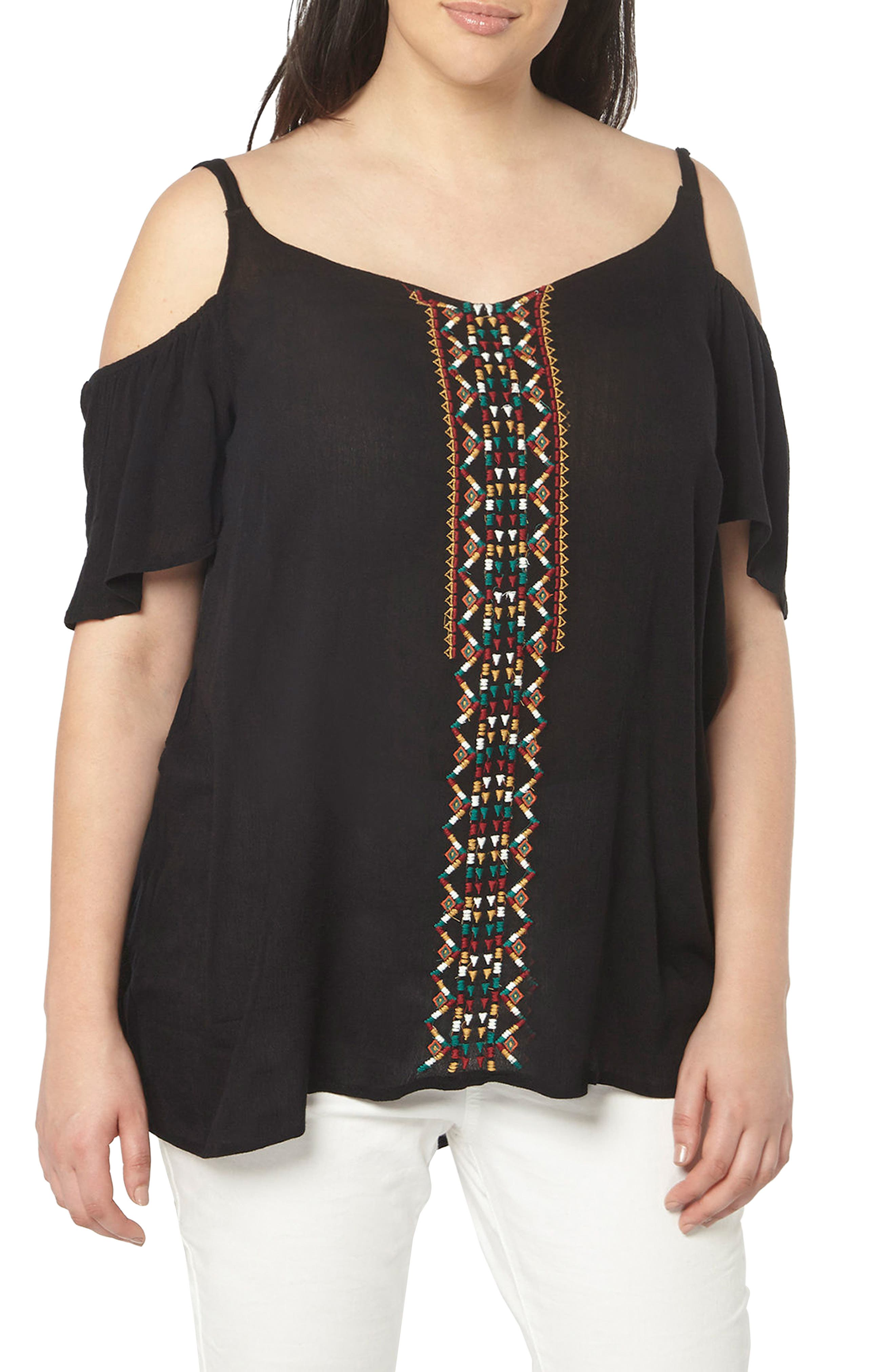 Evans Embroidered Off the Shoulder Top (Plus Size)