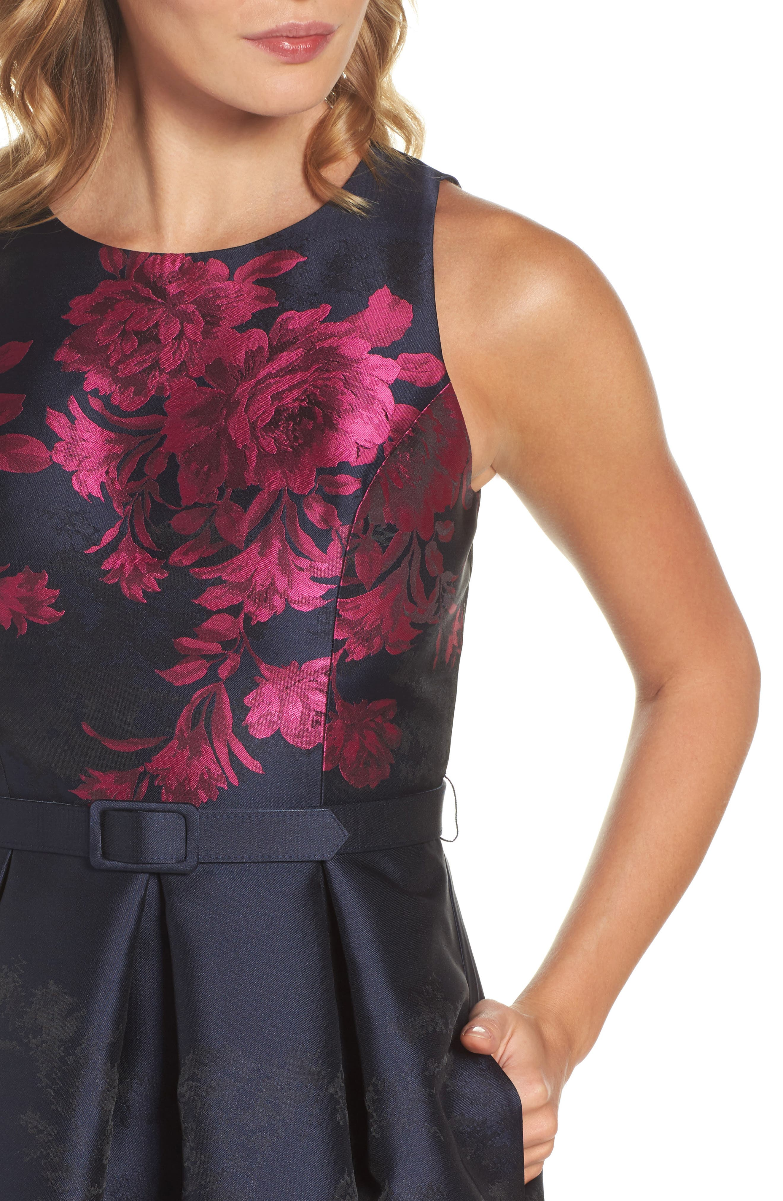 Floral Jacquard Fit & Flare Dress,                             Alternate thumbnail 4, color,                             Navy/ Pink