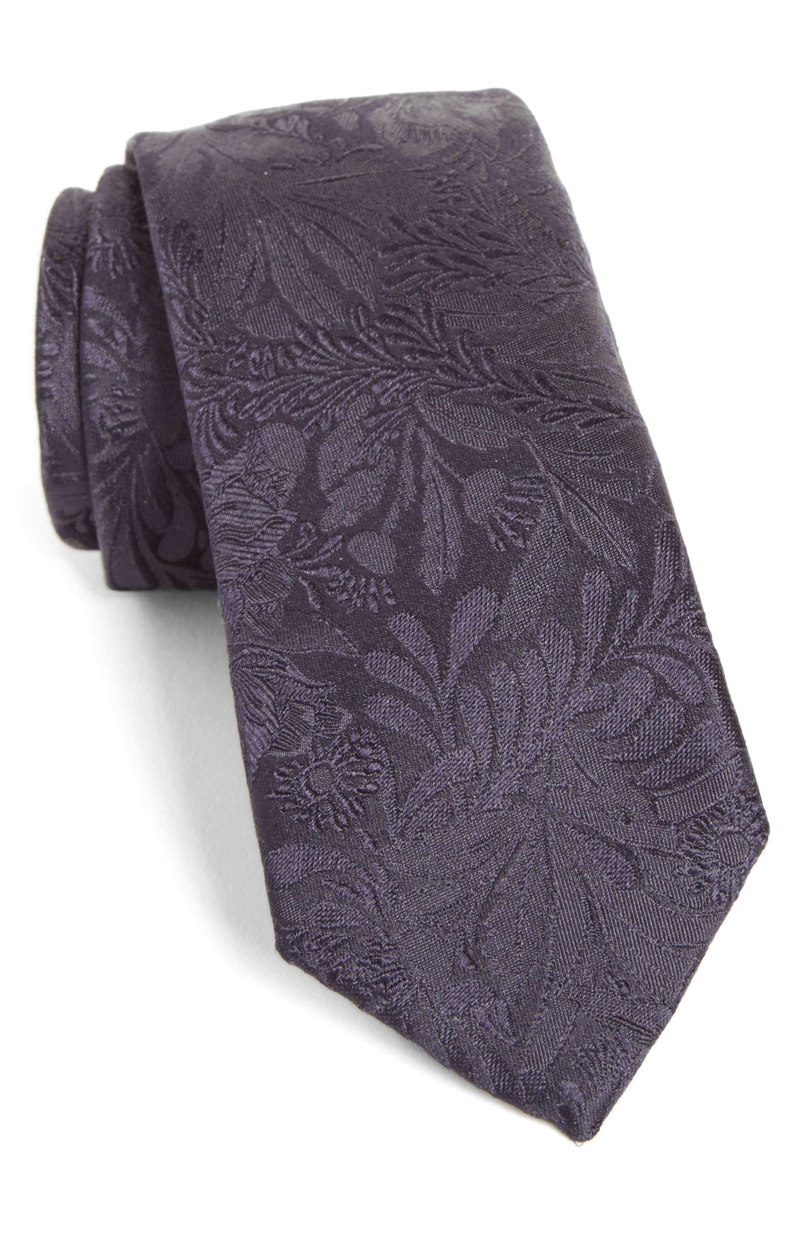 Tonal Floral Silk Tie,                             Main thumbnail 1, color,                             Blue