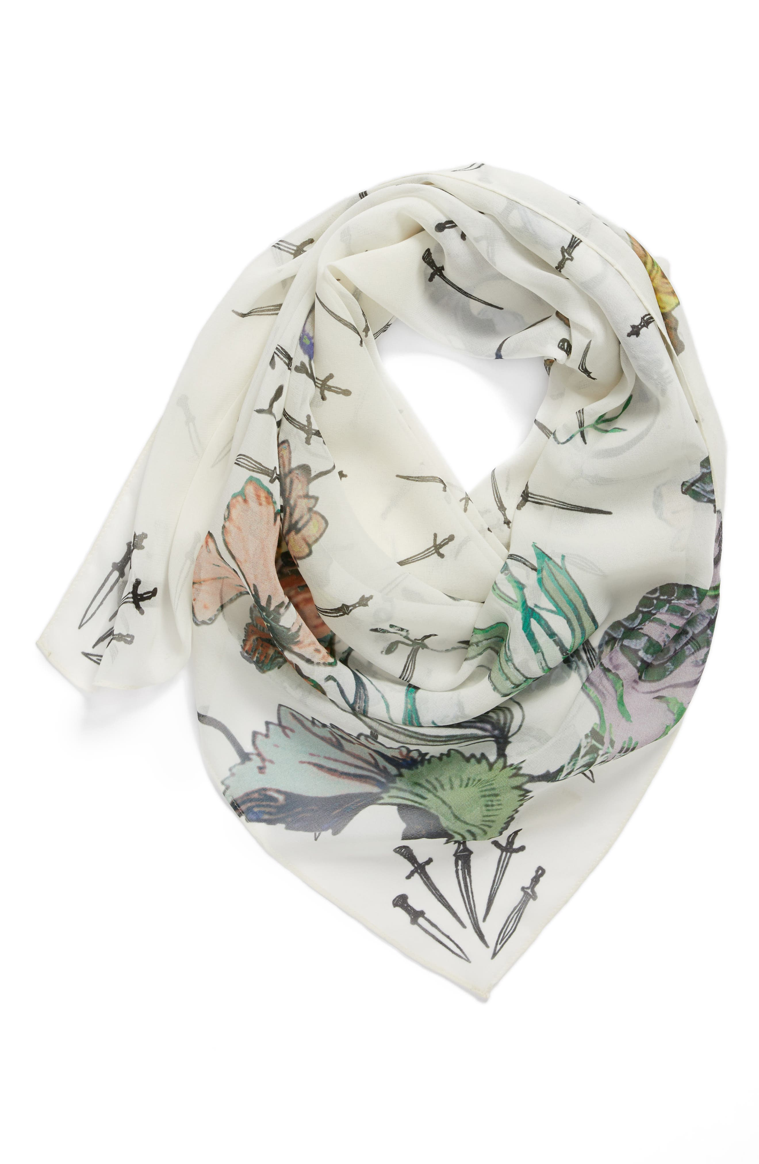 Floral Camo Dagger Silk Scarf,                             Alternate thumbnail 3, color,                             White Floral