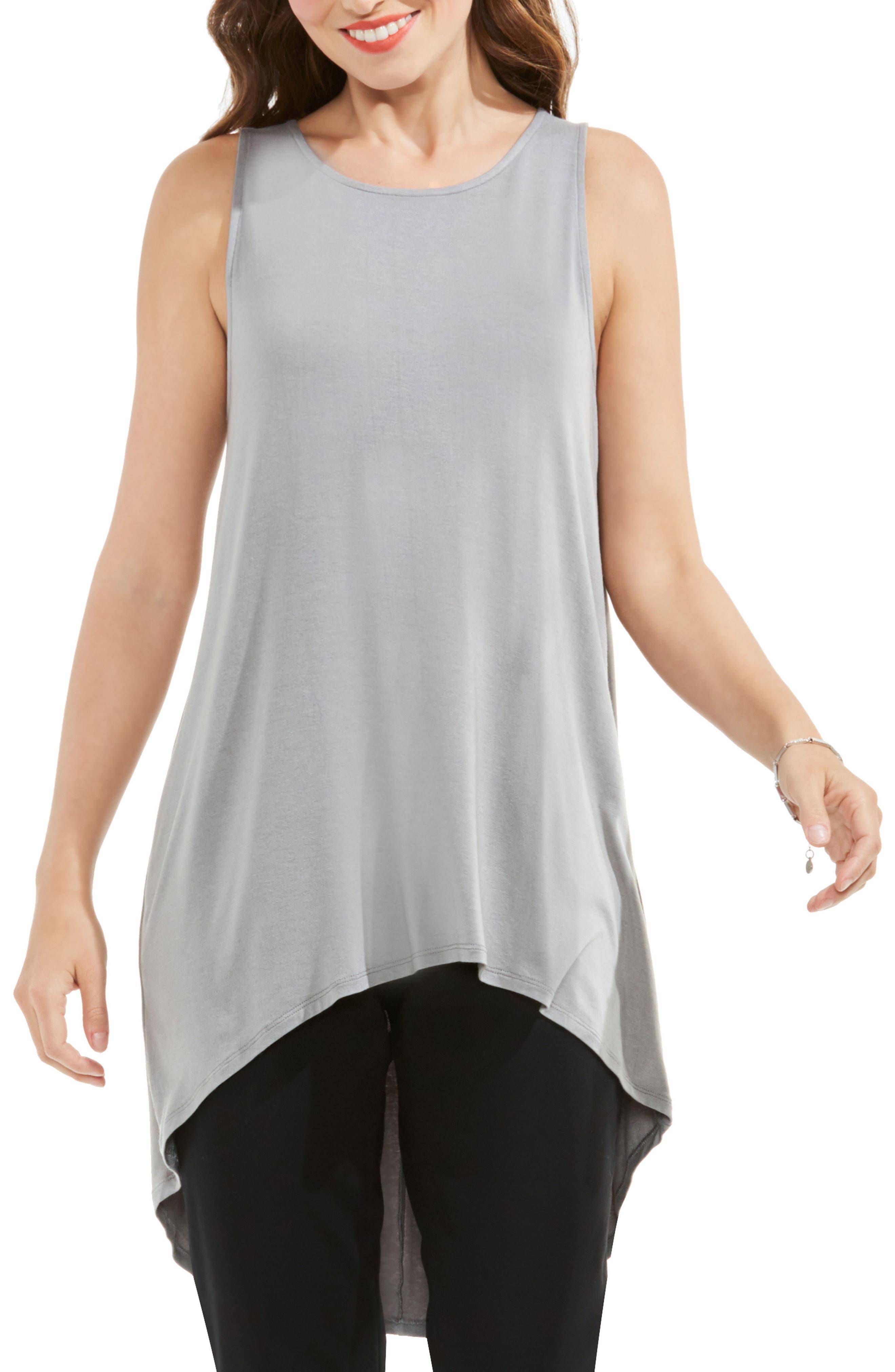 Sleeveless High/Low Top,                         Main,                         color, Light Steel Grey