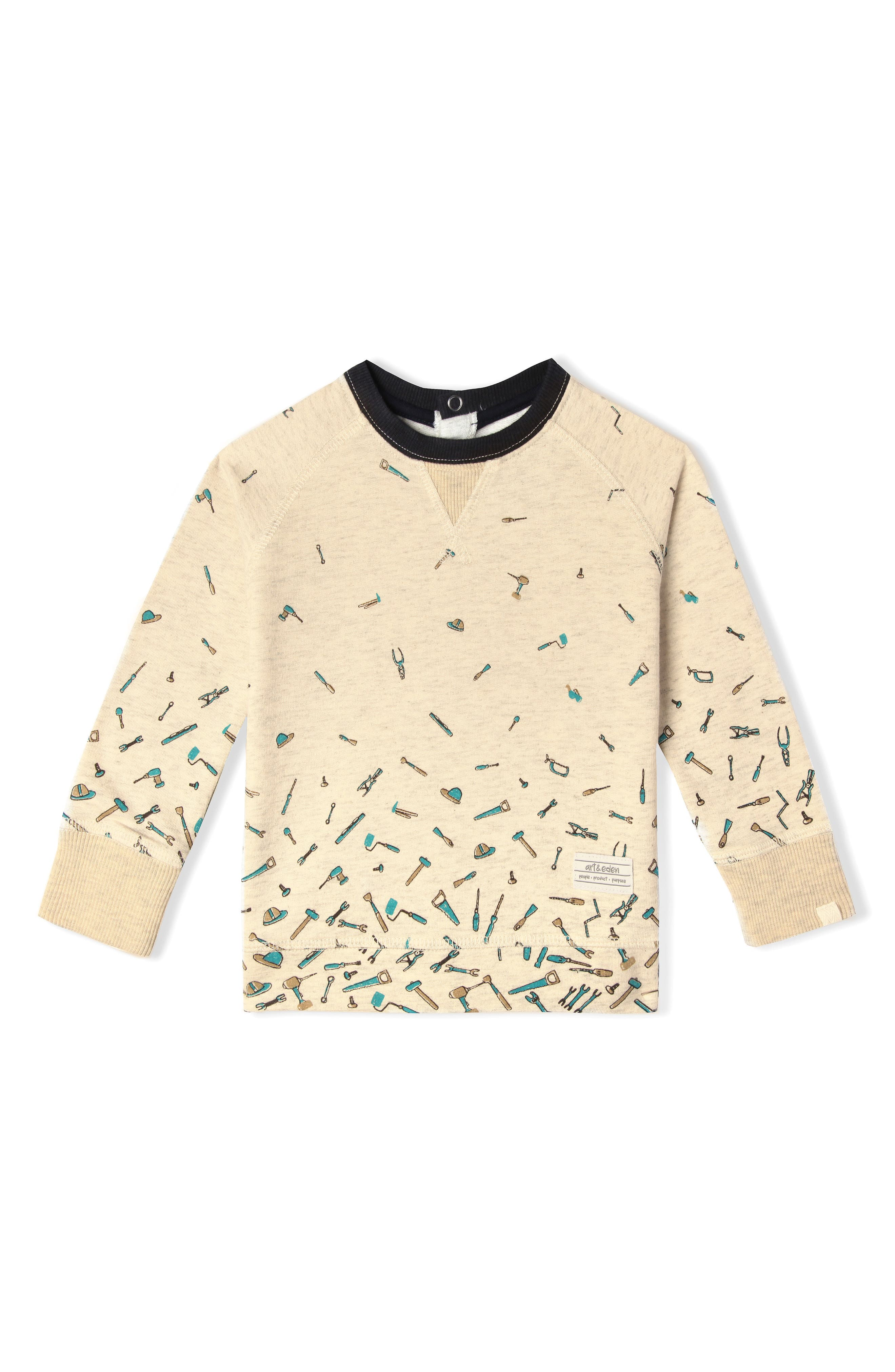 Alternate Image 1 Selected - Art & Eden Mini Samuel Organic Cotton Sweatshirt (Baby Boys)
