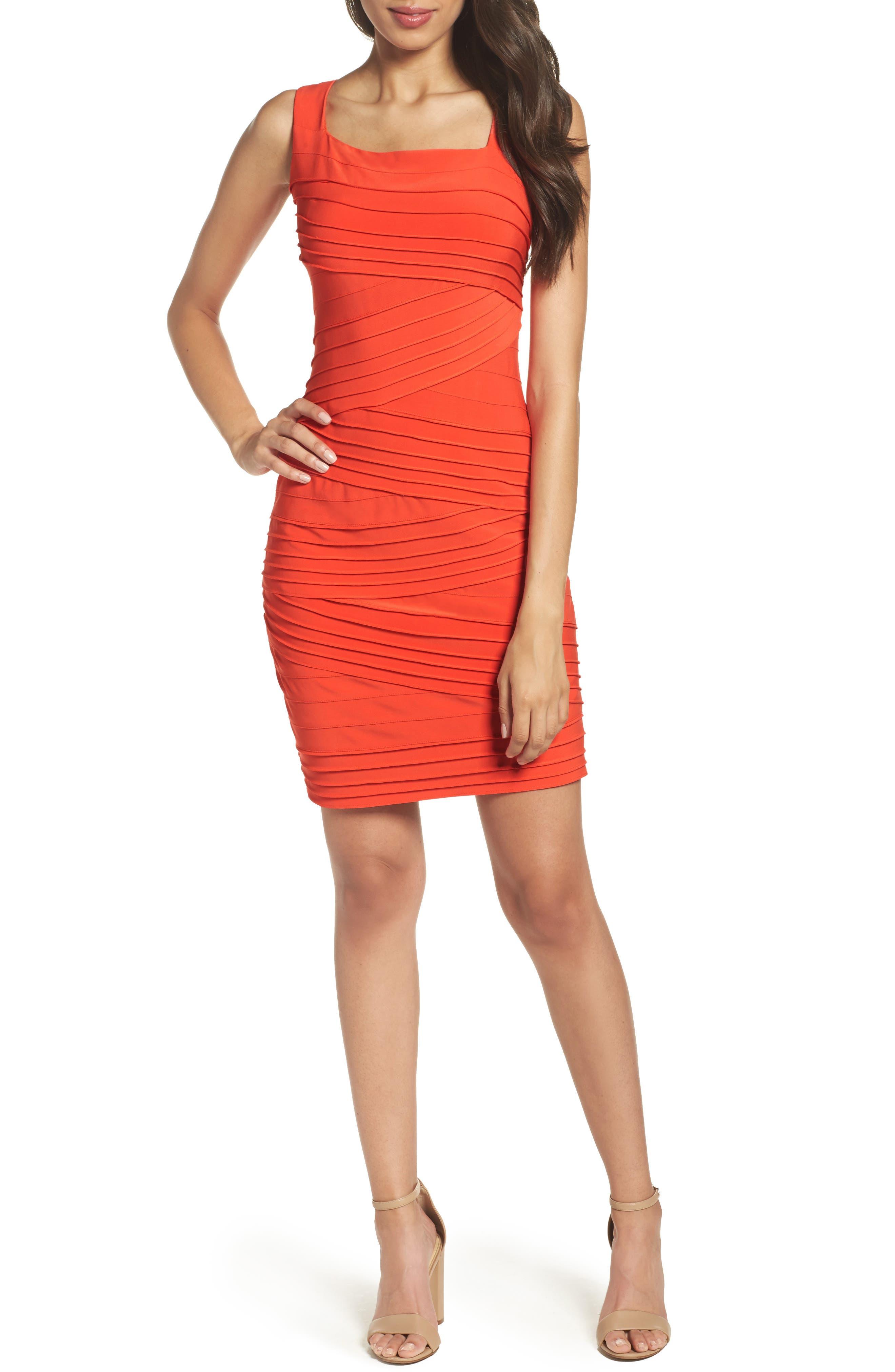 Banded Body-Con Dress,                         Main,                         color, Fire Orange