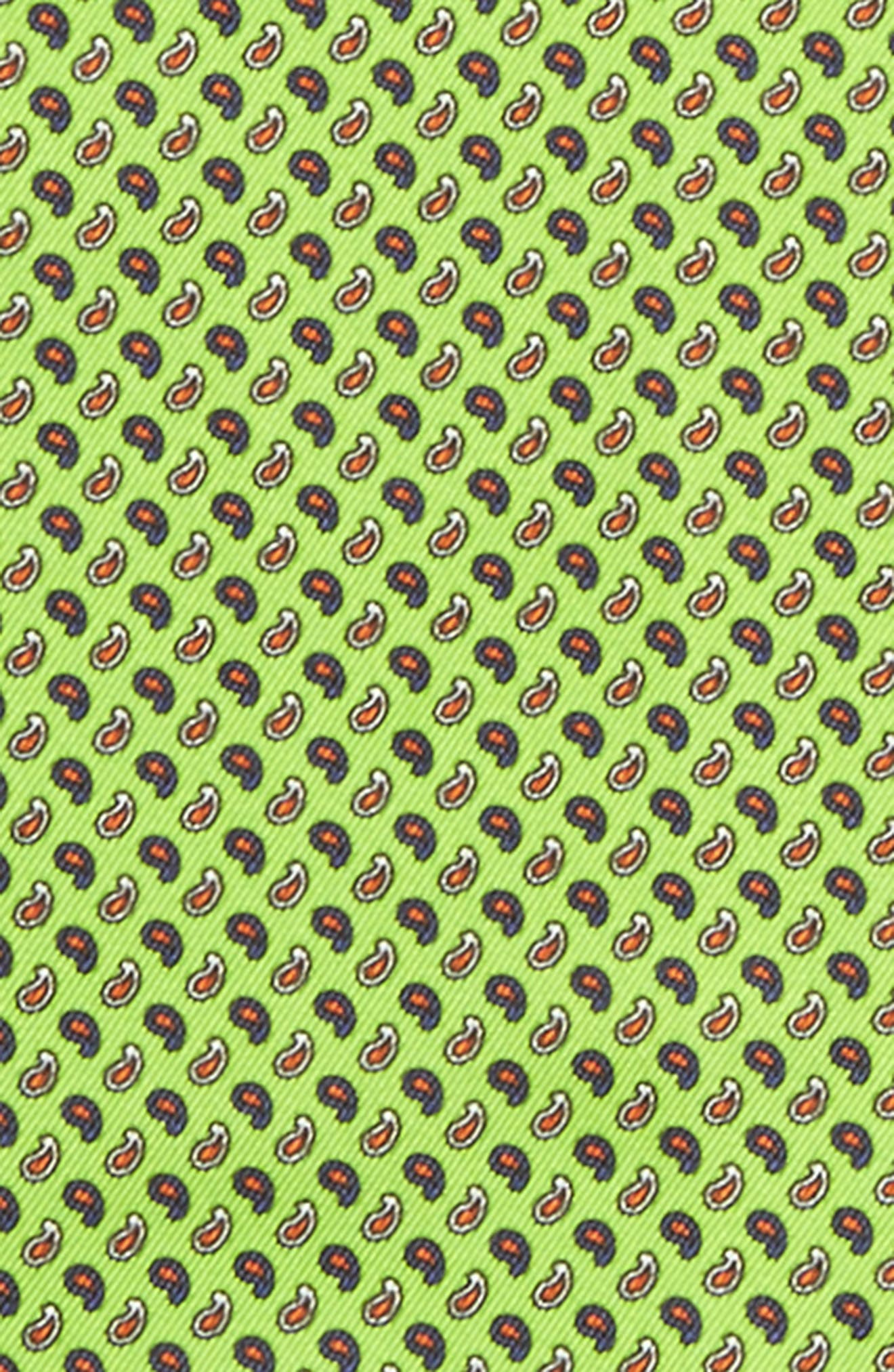 Paisley Silk Pocket Square,                             Alternate thumbnail 3, color,                             Green
