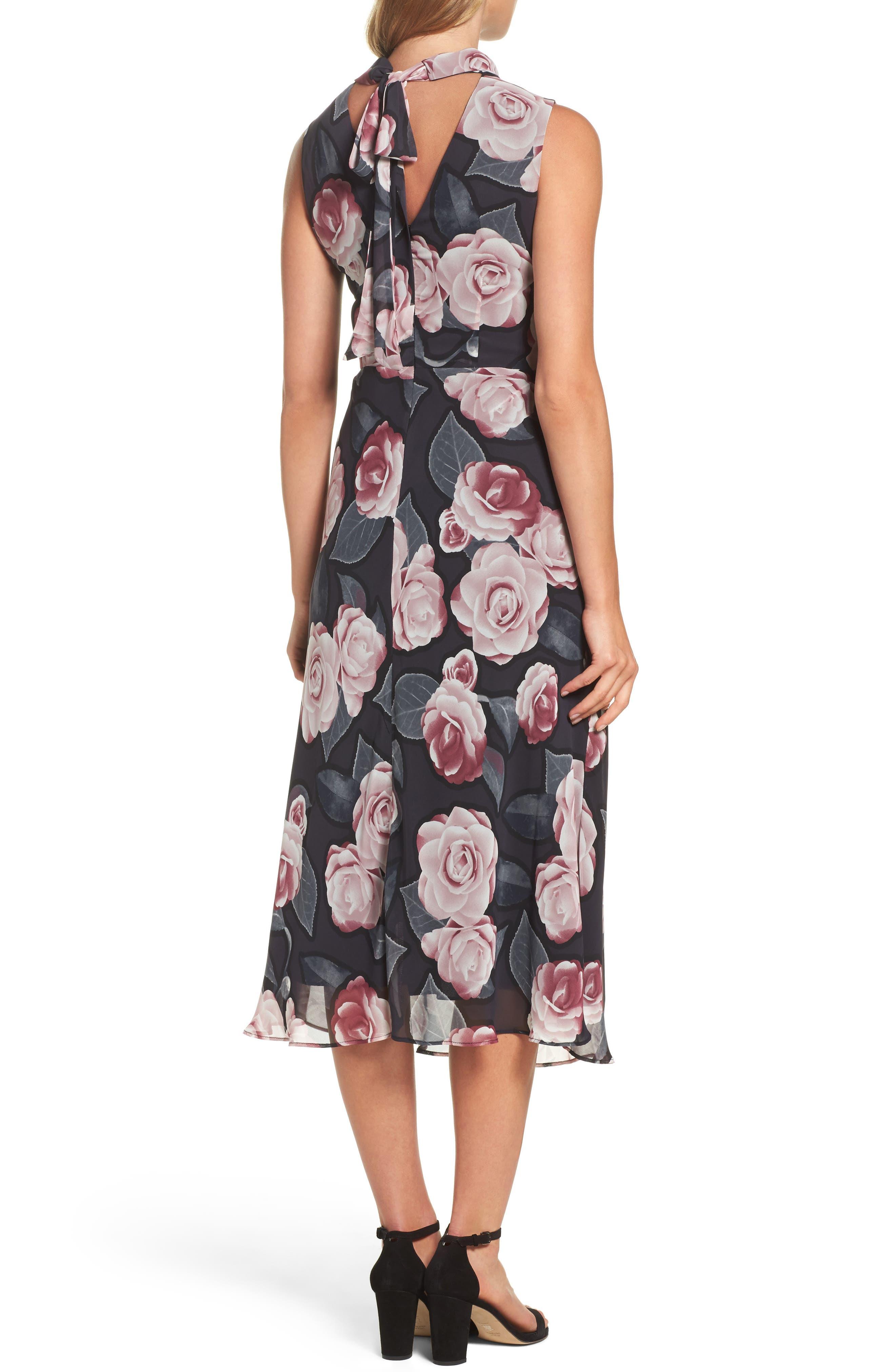 Tossed Rosewood Midi Dress,                             Alternate thumbnail 2, color,                             Rosewood Grey
