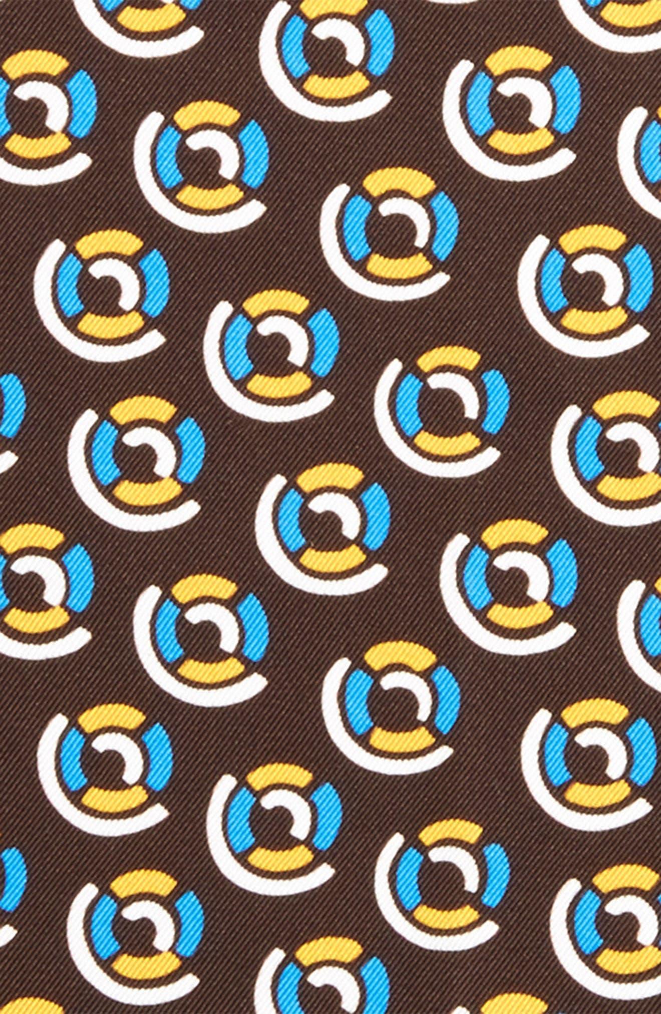 Medallion Silk Pocket Square,                             Alternate thumbnail 3, color,                             Brown