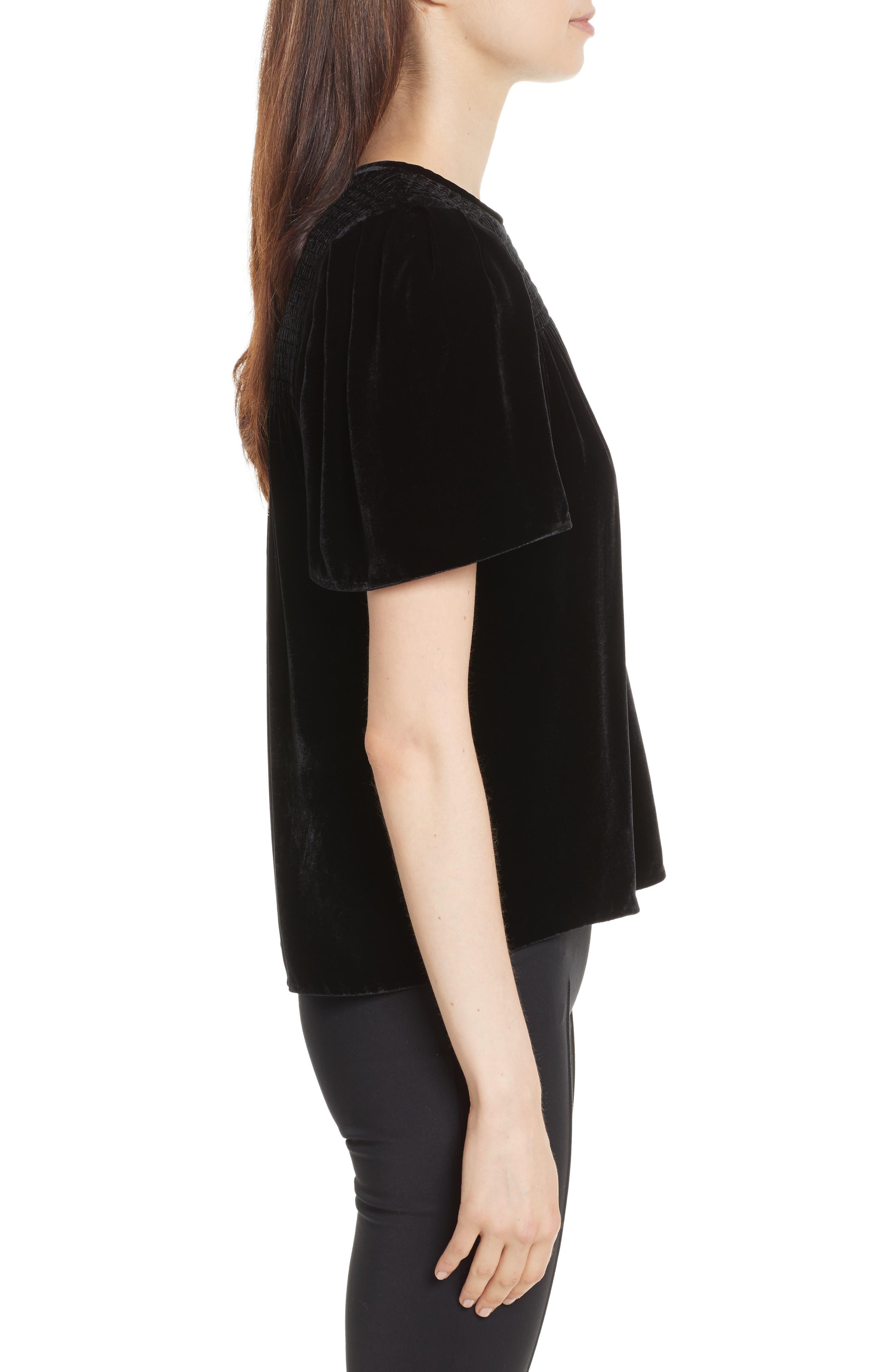 Short Sleeve Velvet Top,                             Alternate thumbnail 3, color,                             Black