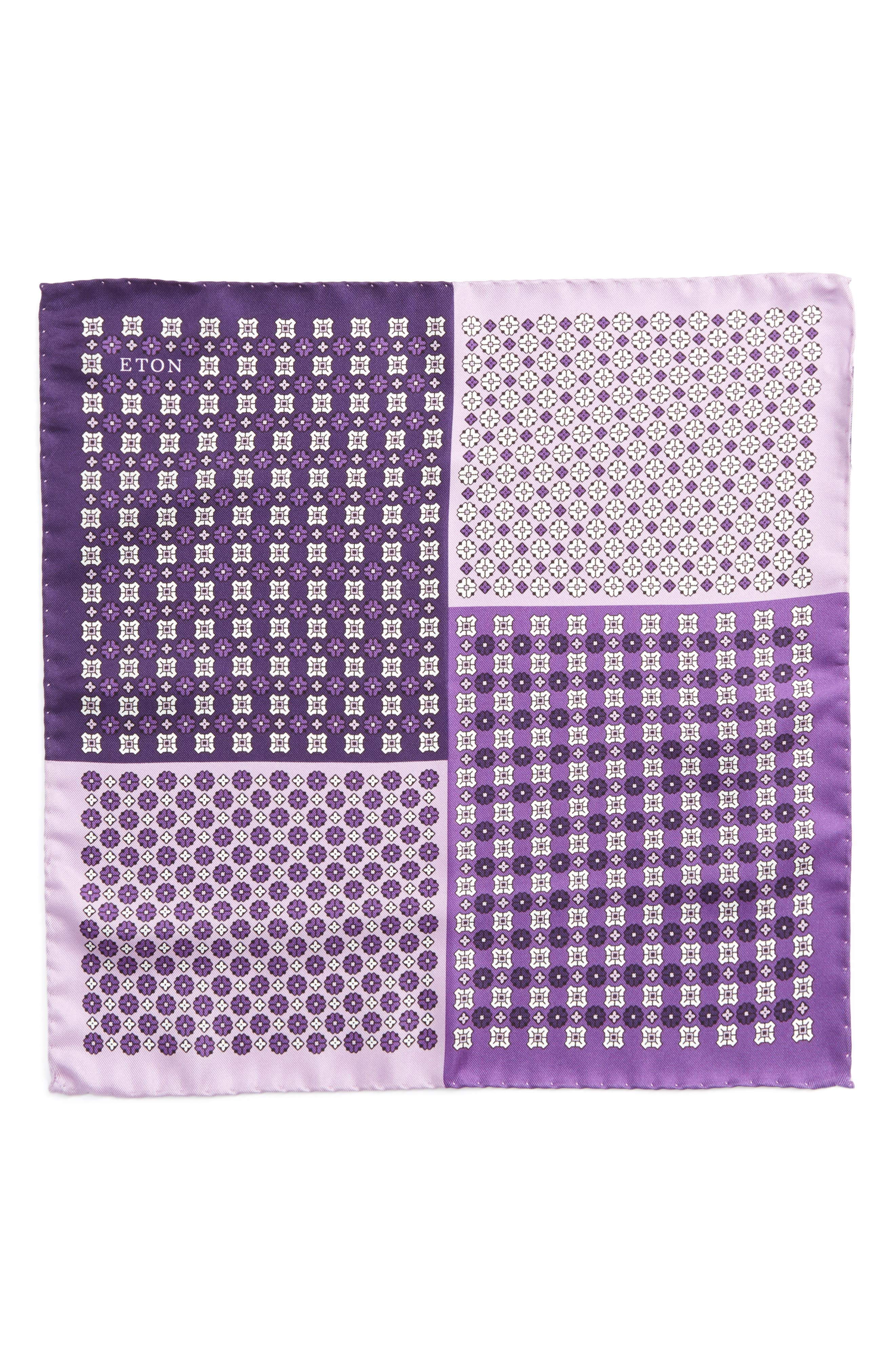 Medallion Silk Pocket Square,                             Alternate thumbnail 2, color,                             Purple