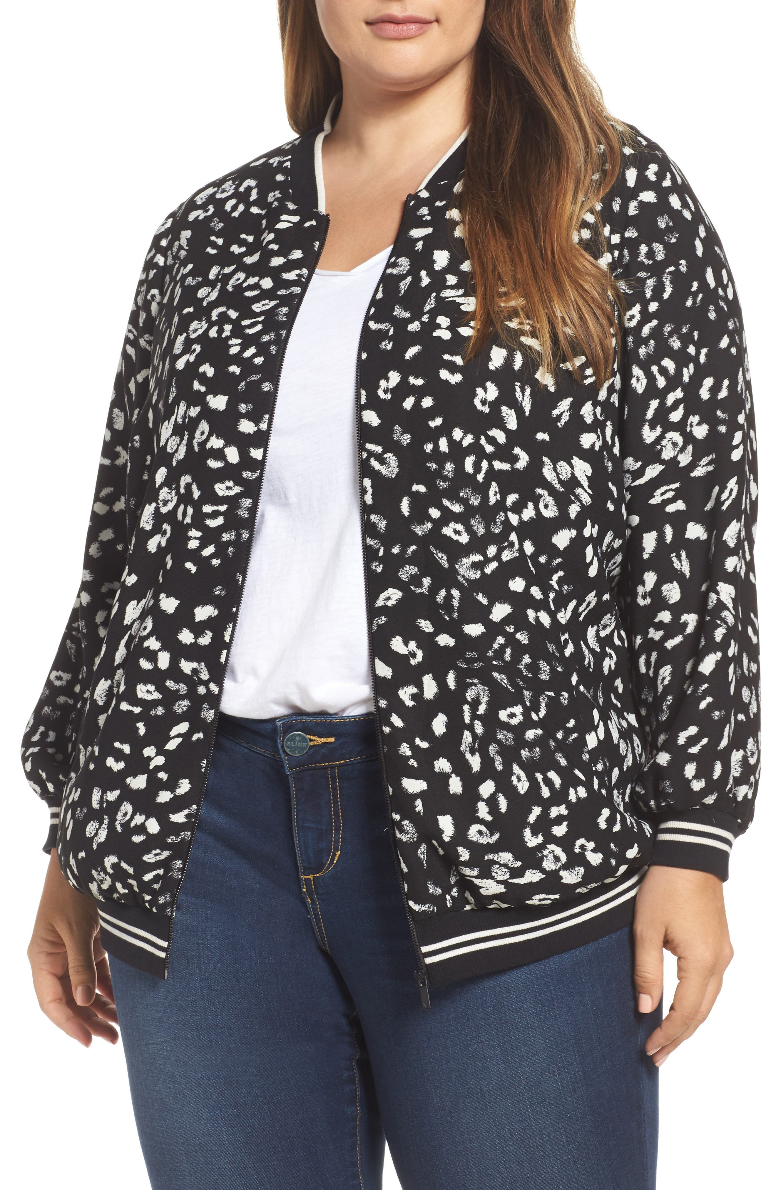 Animal Whispers Bomber Jacket,                         Main,                         color, Rich Black
