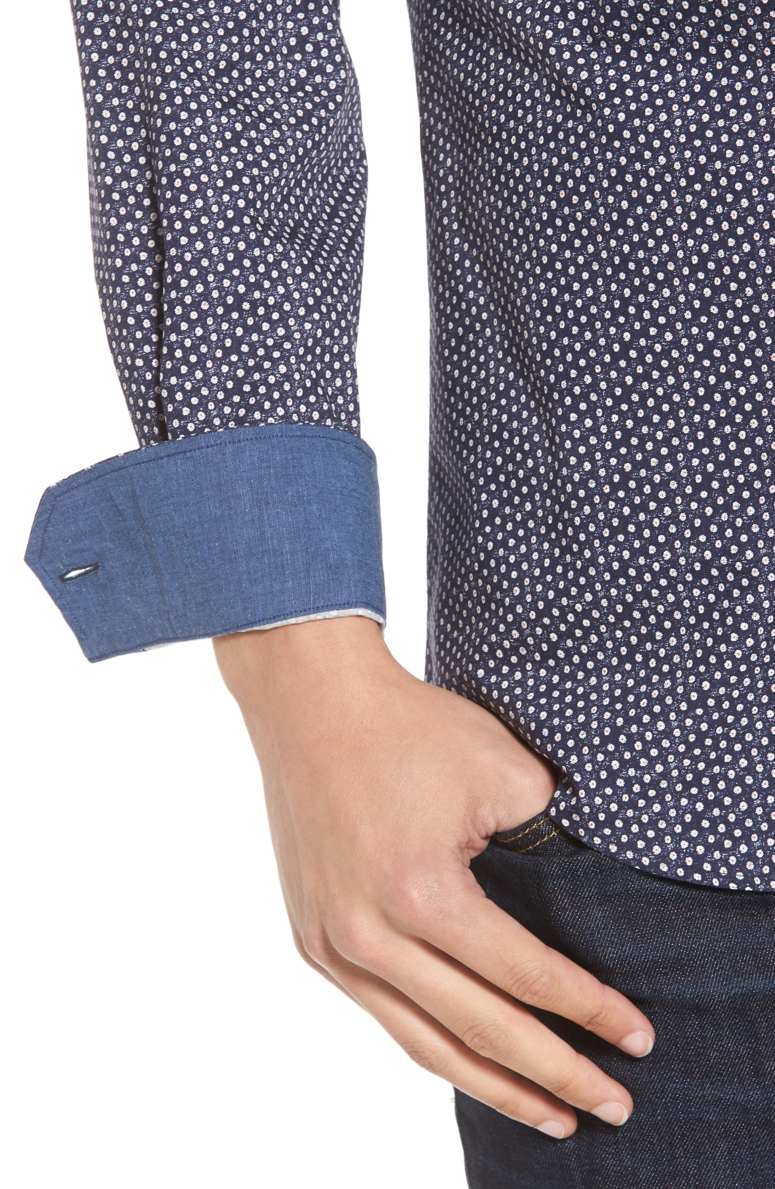 Shaped Fit Floral Print Sport Shirt,                             Alternate thumbnail 4, color,                             Midnight
