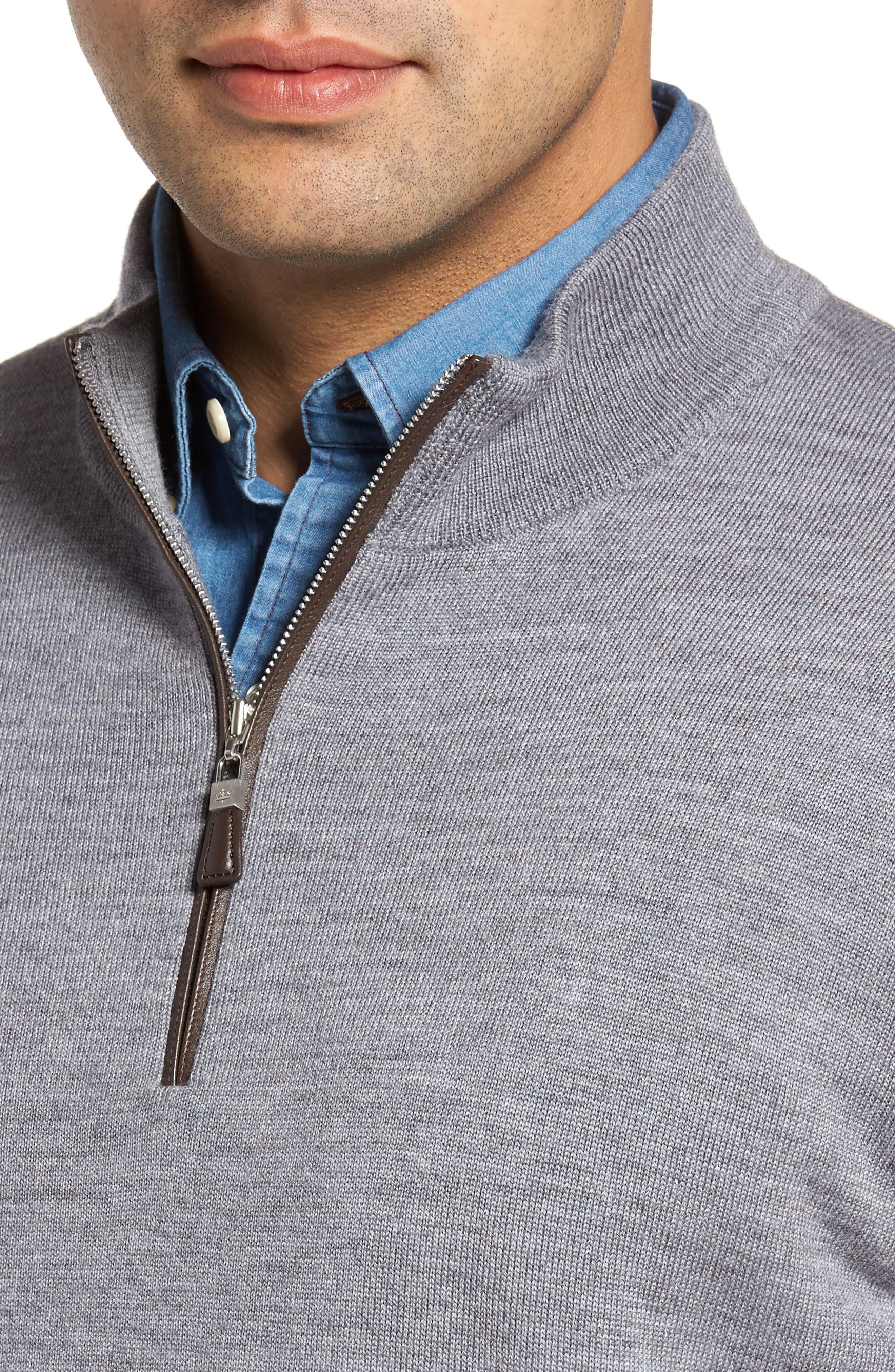 Merino Wool & Silk Quarter Zip Pullover,                             Alternate thumbnail 4, color,                             Flannel