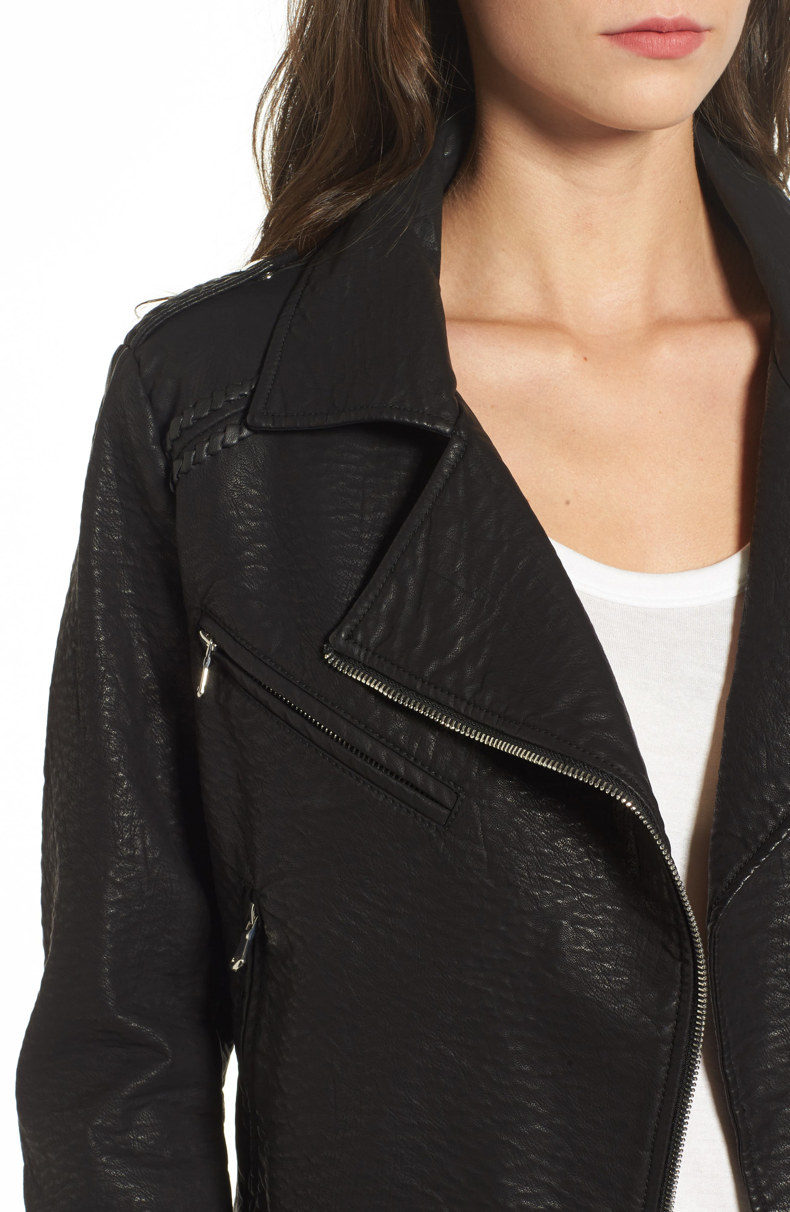 Furthermore Faux Leather Jacket,                             Alternate thumbnail 5, color,                             Black