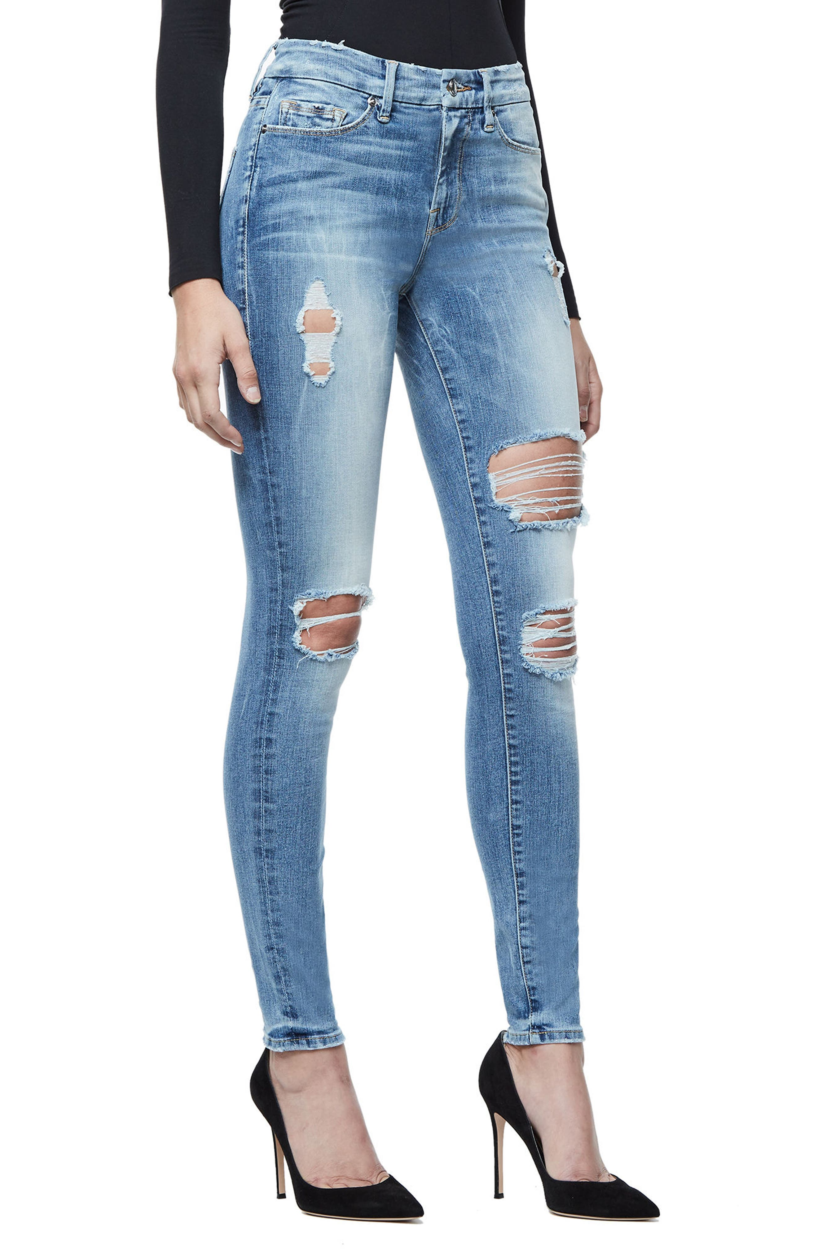 Good Legs Ripped Skinny Jeans,                             Alternate thumbnail 3, color,                             Blue068