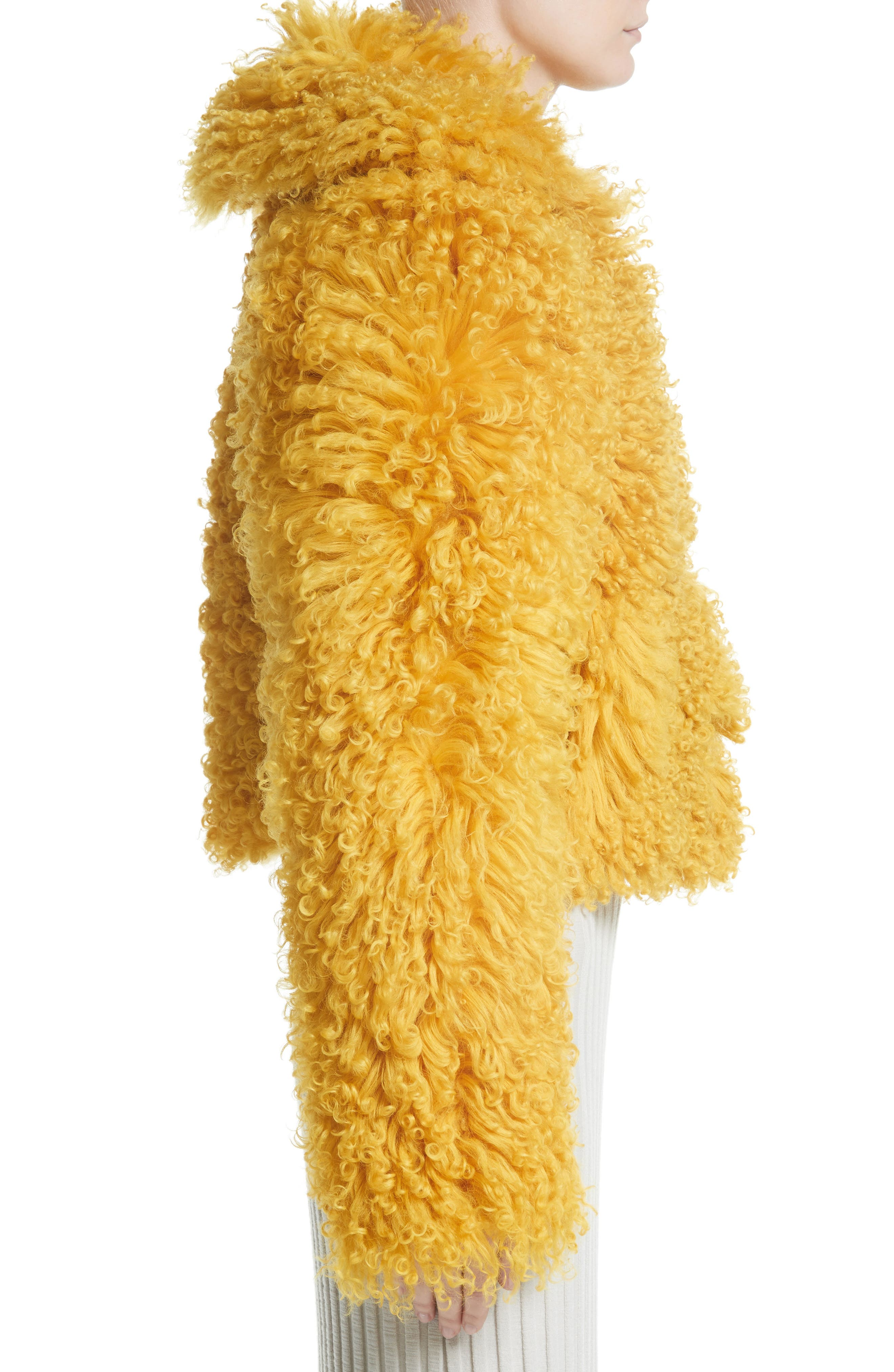 Genuine Shearling Moto Jacket,                             Alternate thumbnail 3, color,                             Mustard