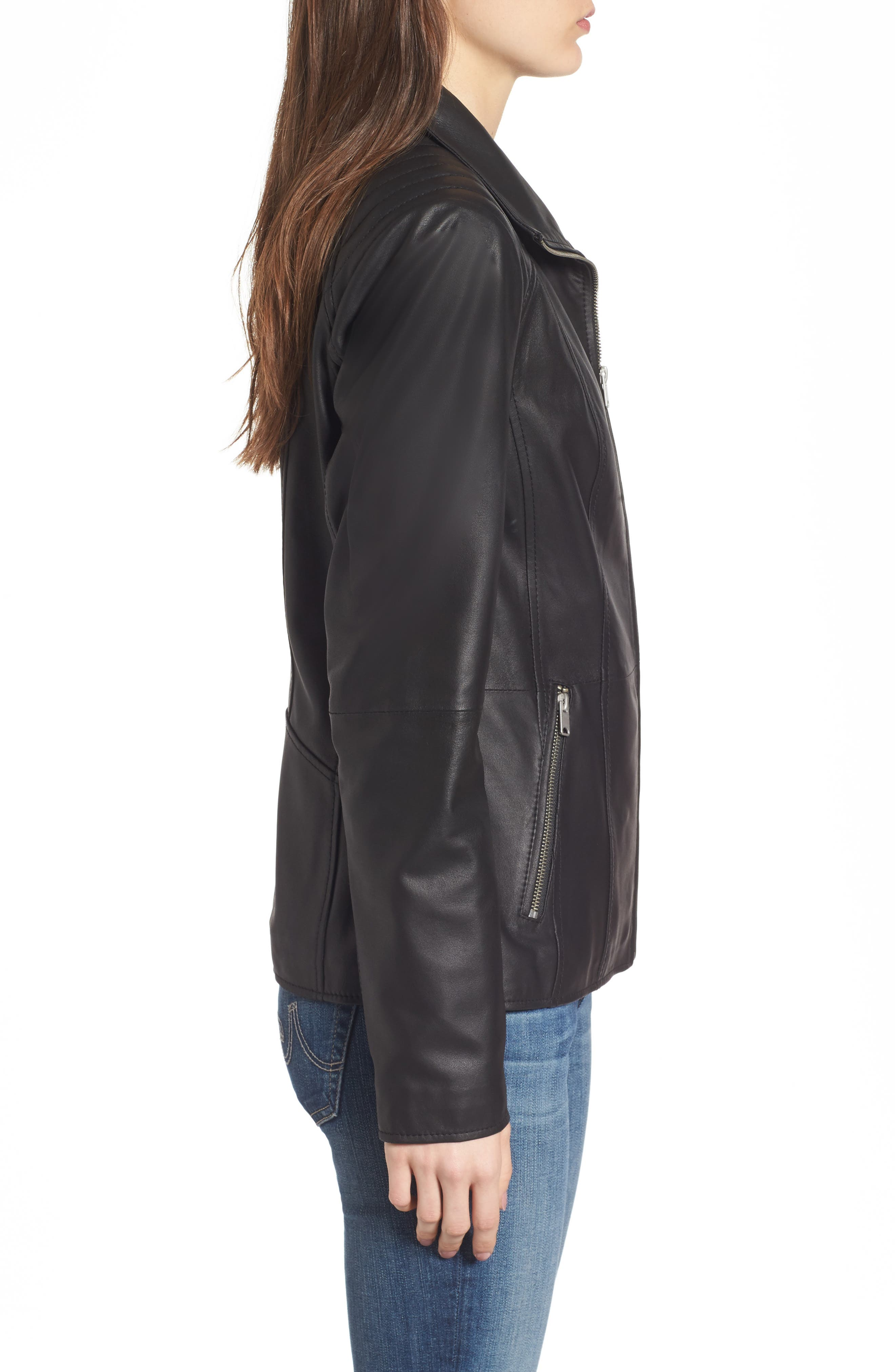 Fabian Feather Leather Jacket,                             Alternate thumbnail 3, color,                             Black
