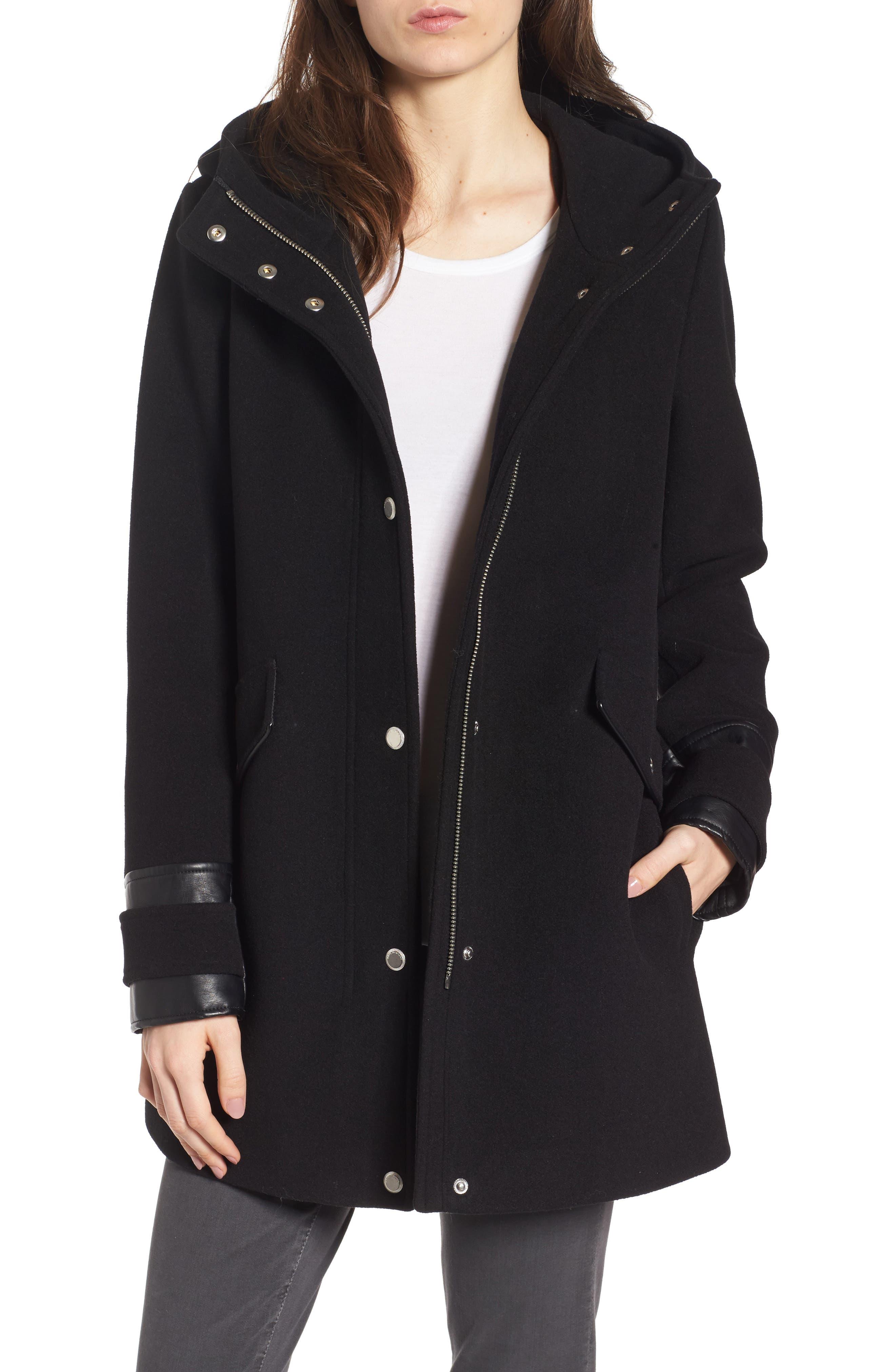Wool Blend Peacoat,                         Main,                         color, Black