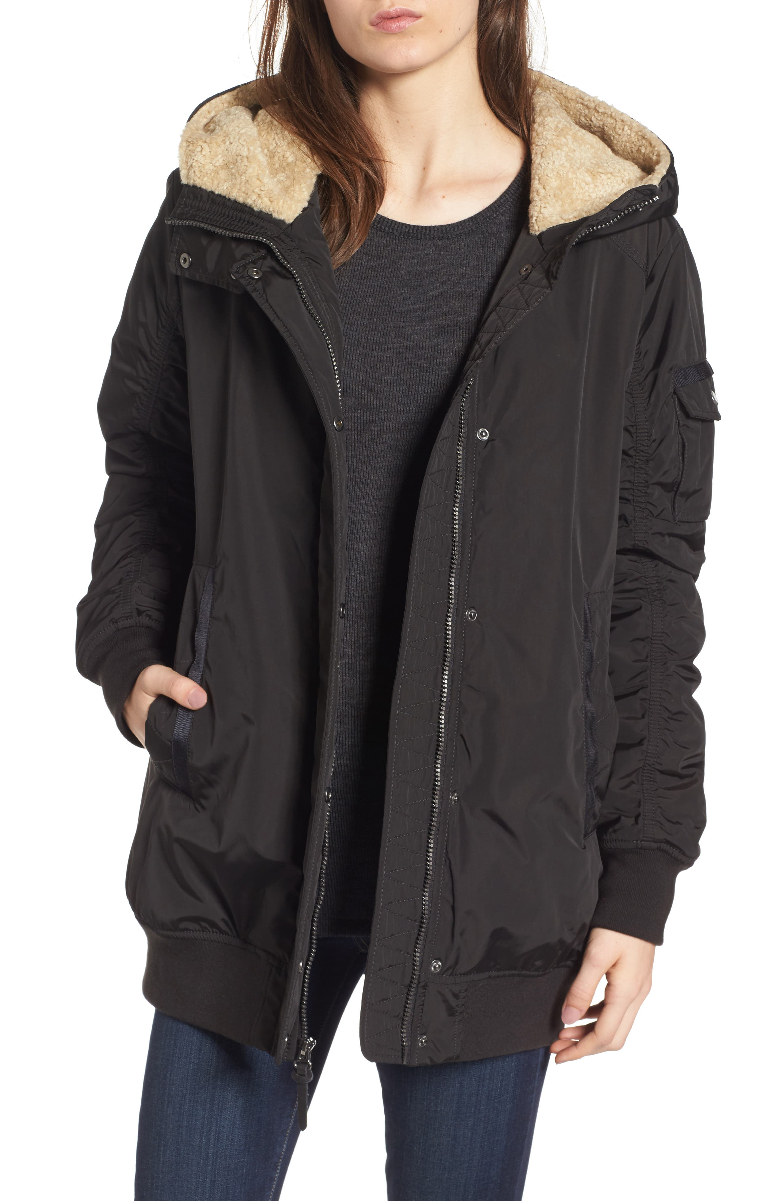 Nina Hooded Jacket with Faux Fur Trim,                             Main thumbnail 1, color,                             Black