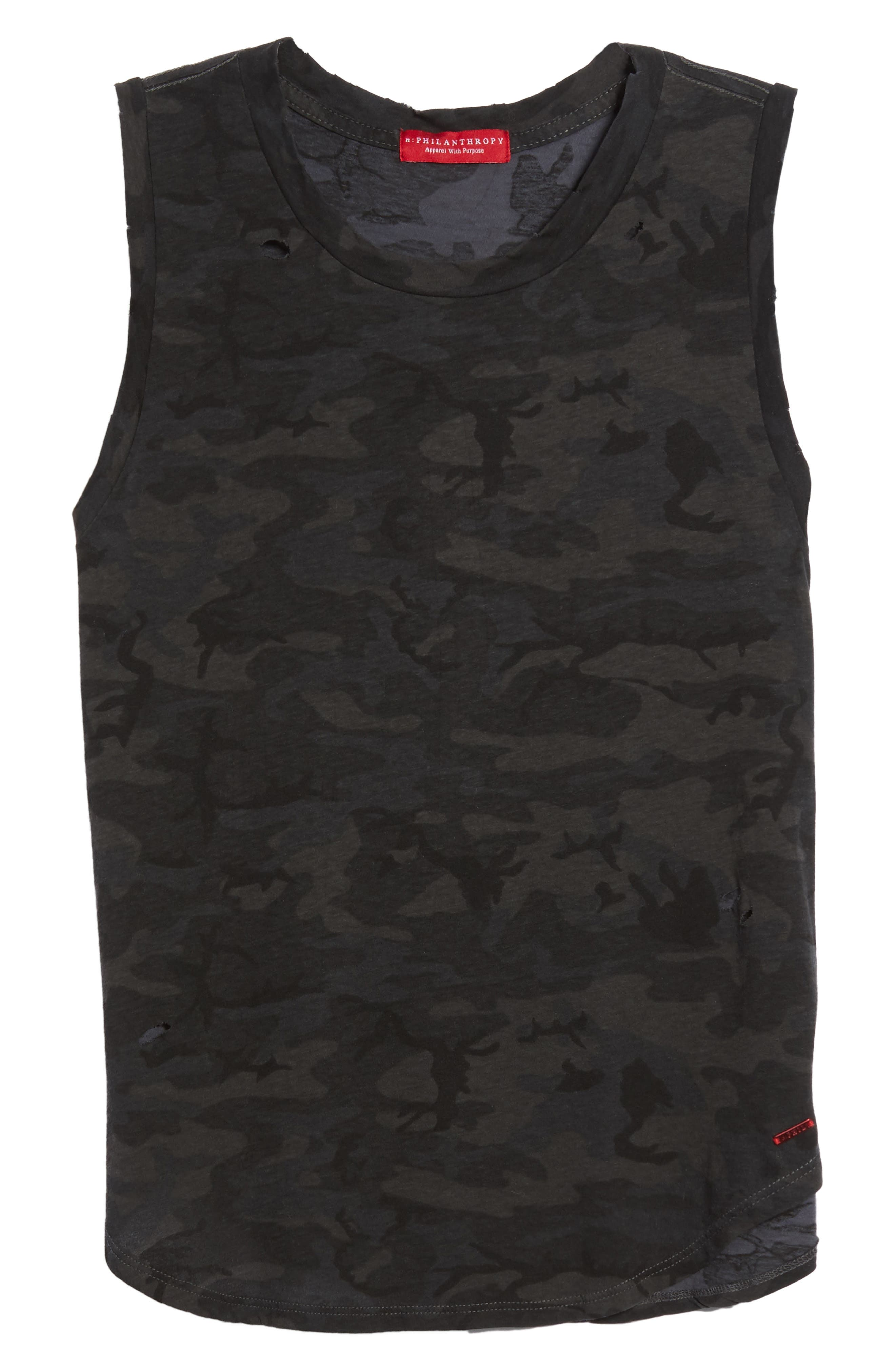Corin Distressed Muscle Tank,                             Alternate thumbnail 6, color,                             Ghost Multi Camo