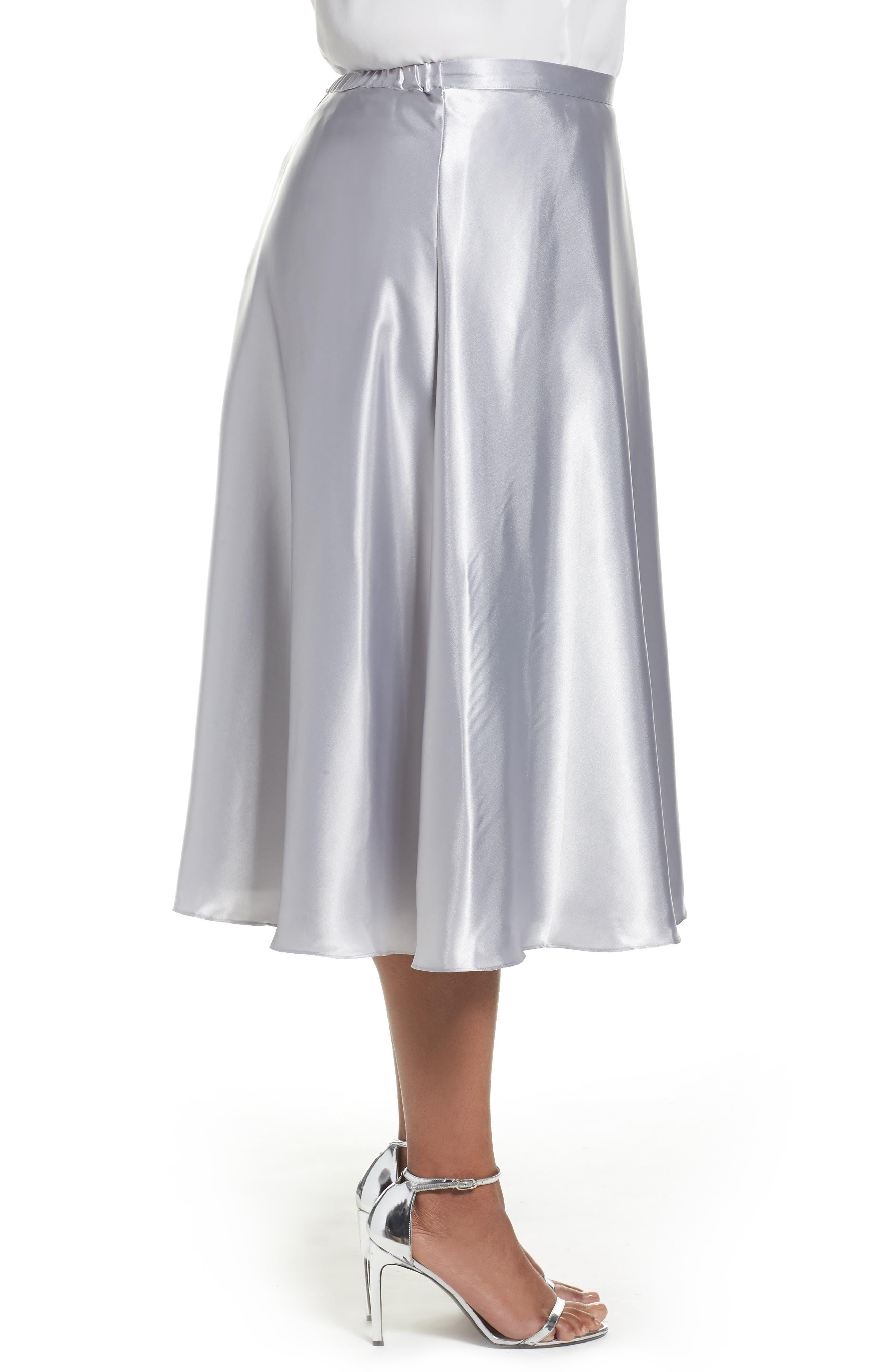 Alternate Image 3  - Alex Evenings Full Charmeuse Tea-Length Skirt (Plus Size)