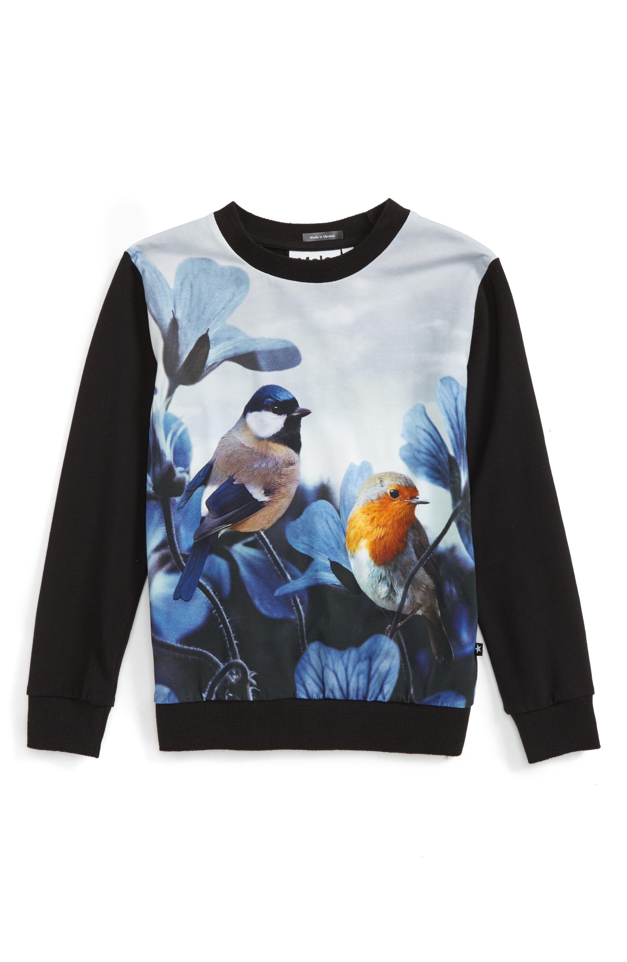 Molo Regine Bird Print Sweatshirt (Toddler Girls, Little Girls & Big Girls)