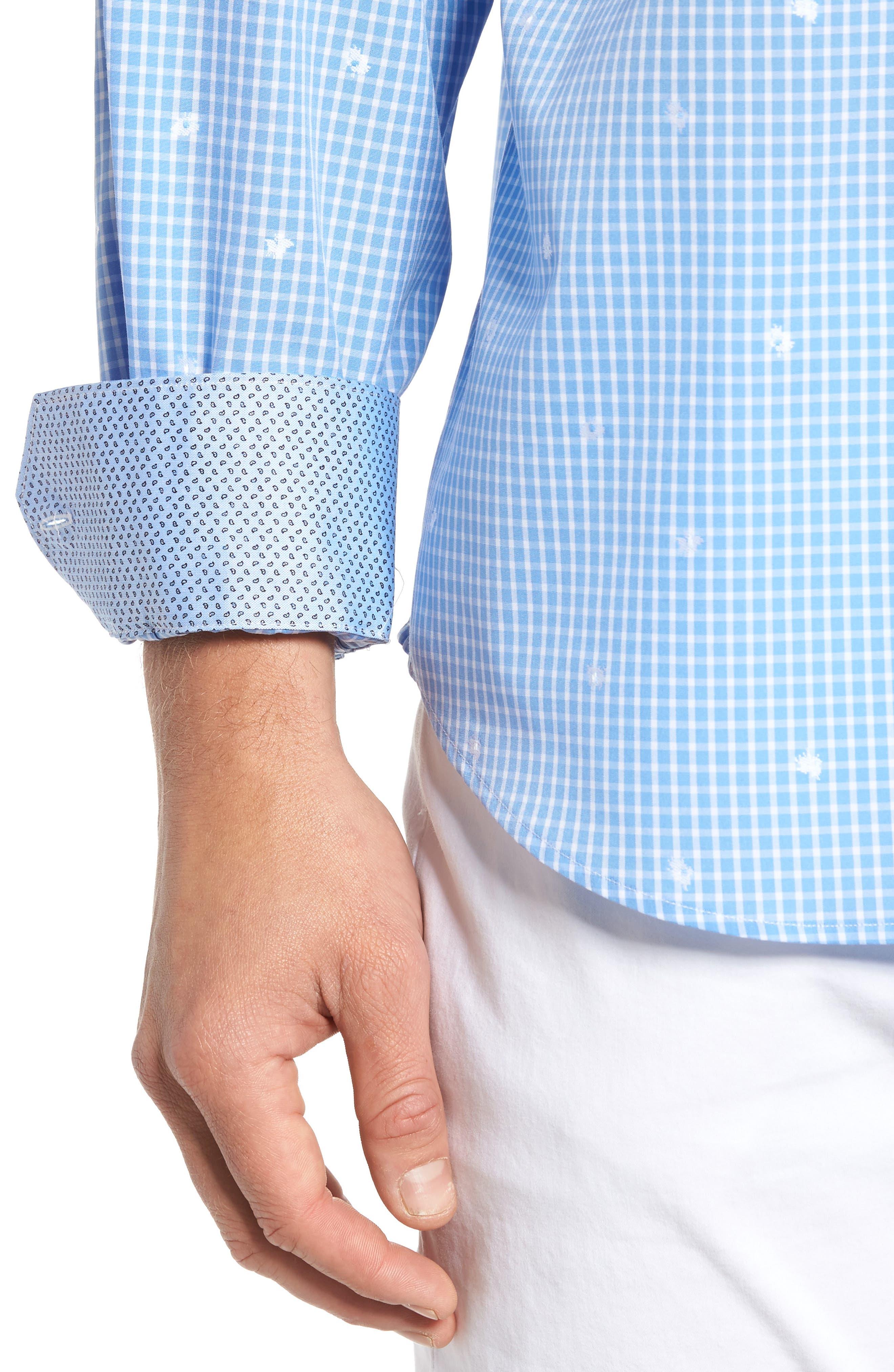 Alternate Image 4  - Bugatchi Classic Fit Windowpane Sport Shirt