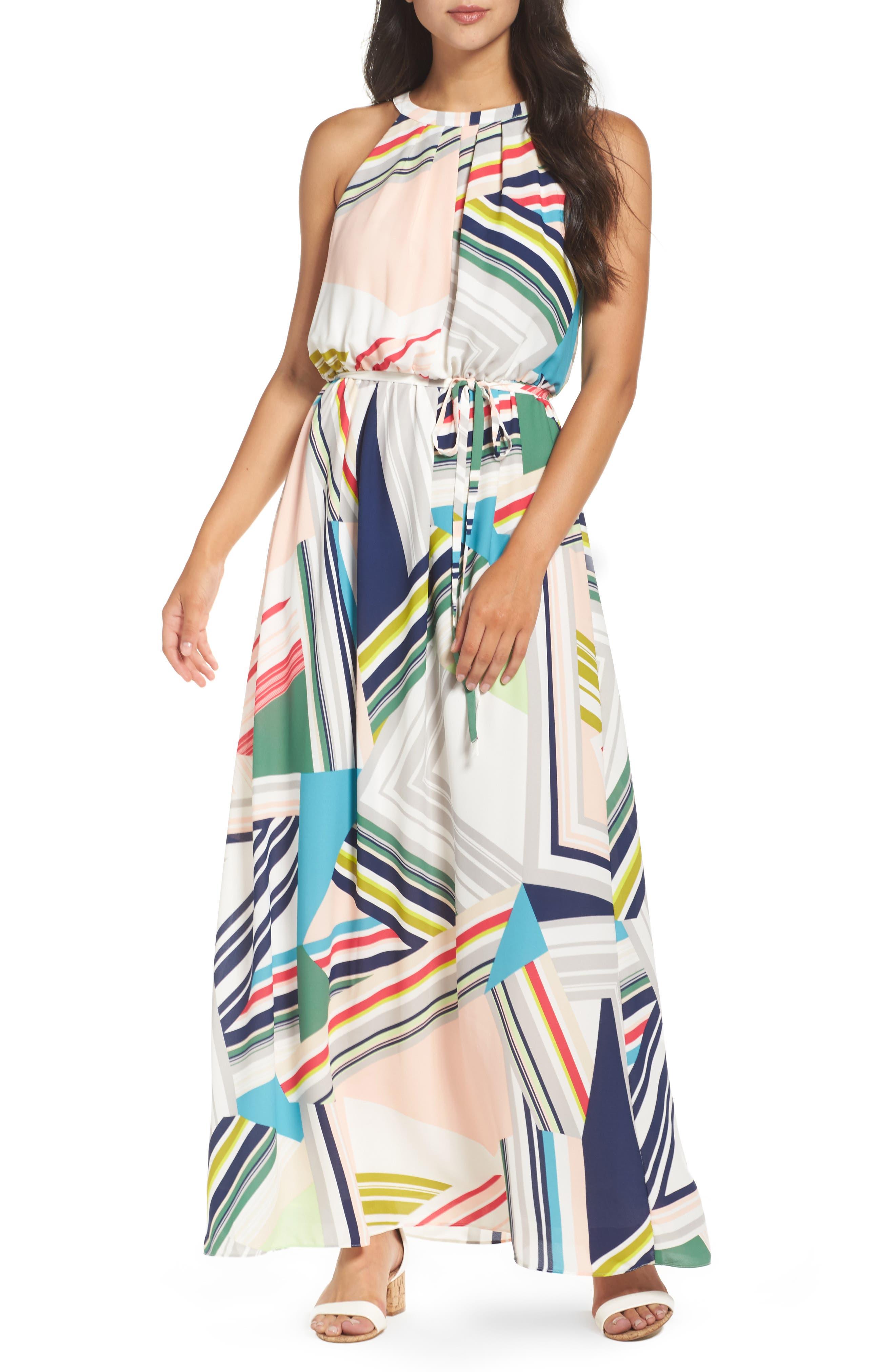 Stripe Maze Pleated Maxi Dress,                         Main,                         color, Blue/ Green Multi