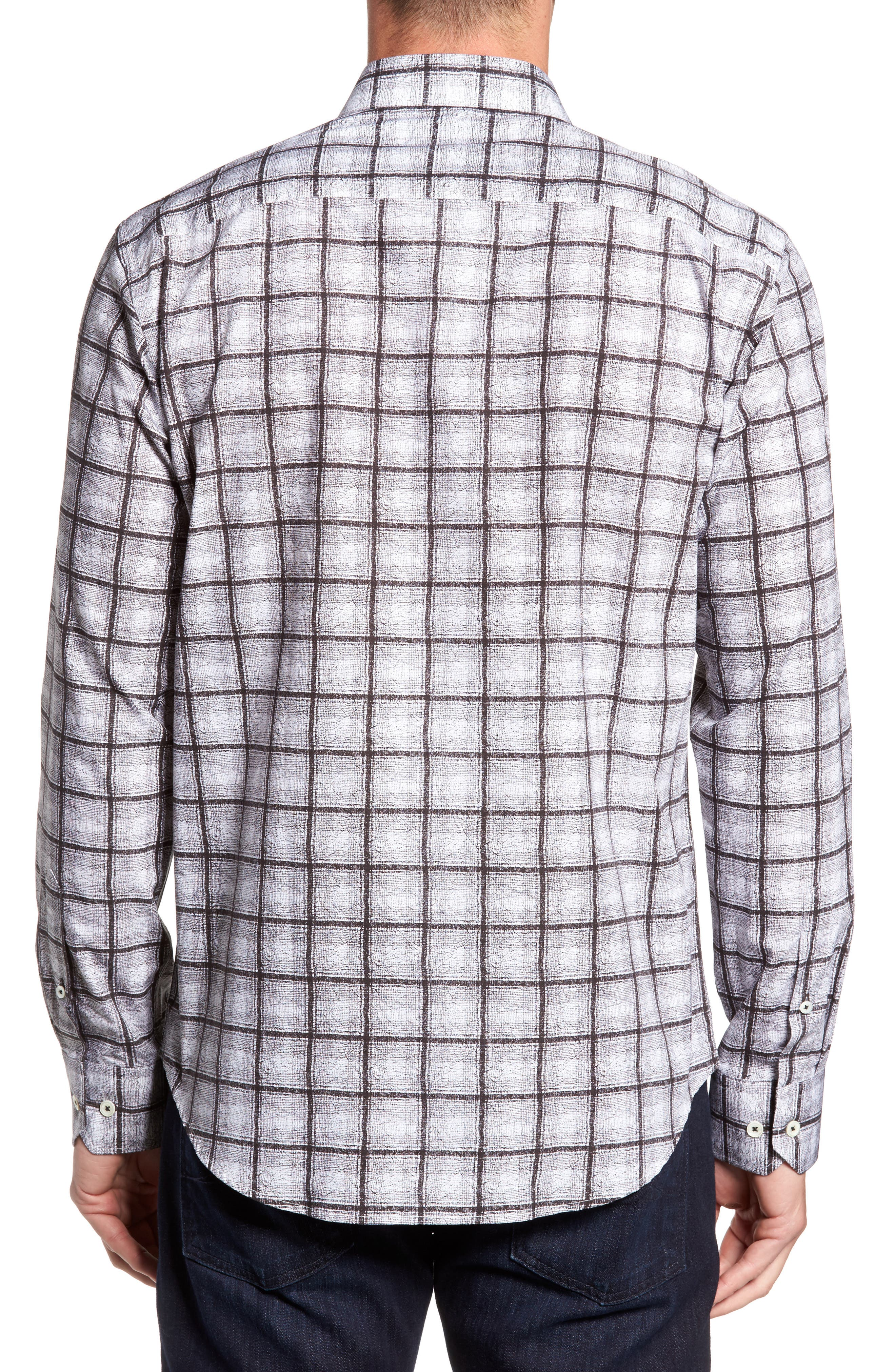 Shaped Fit Check Sport Shirt,                             Alternate thumbnail 2, color,                             Black