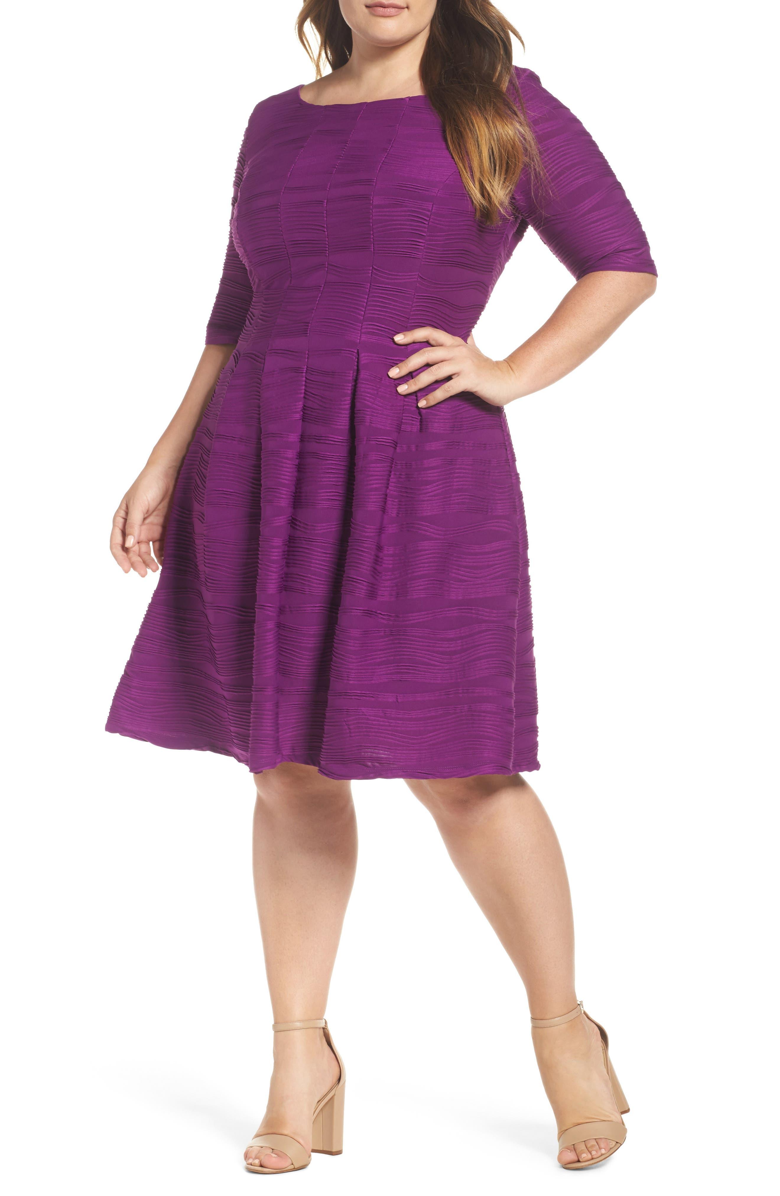 Gabby Skye Wave Knit Fit & Flare Dress (Plus Size)