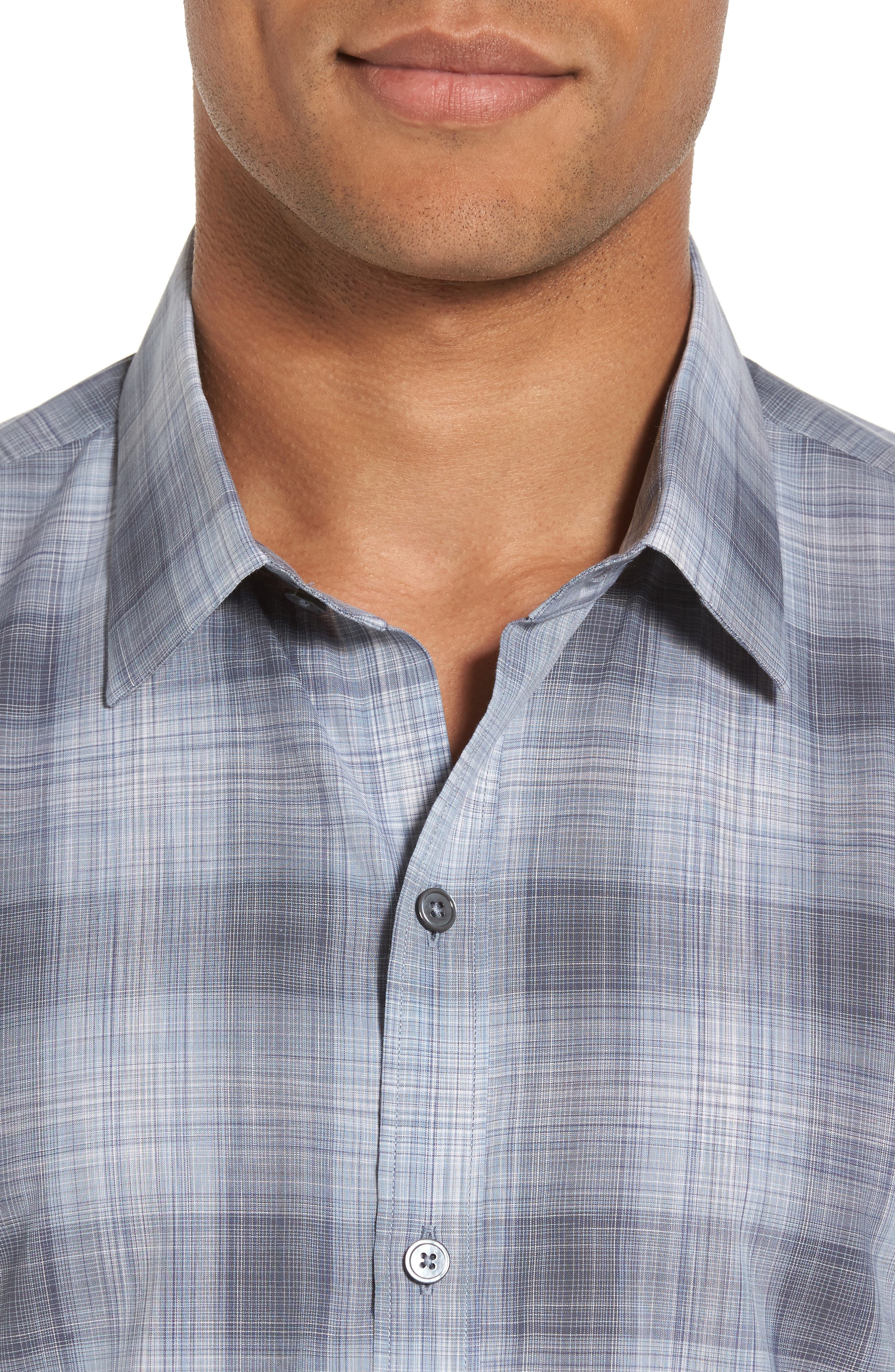 Perrygold Slim Fit Check Sport Shirt,                             Alternate thumbnail 4, color,                             Grey