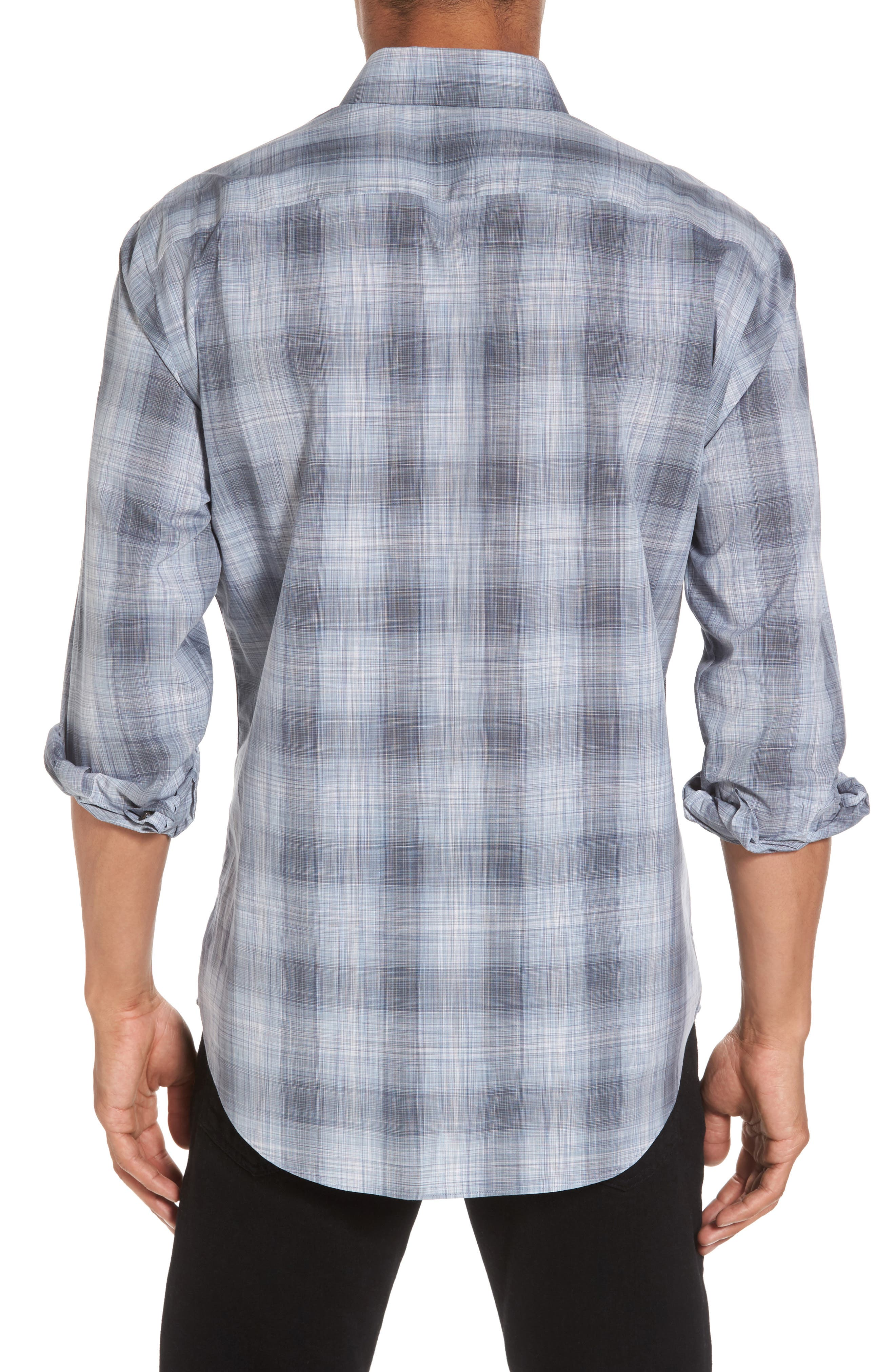 Perrygold Slim Fit Check Sport Shirt,                             Alternate thumbnail 2, color,                             Grey