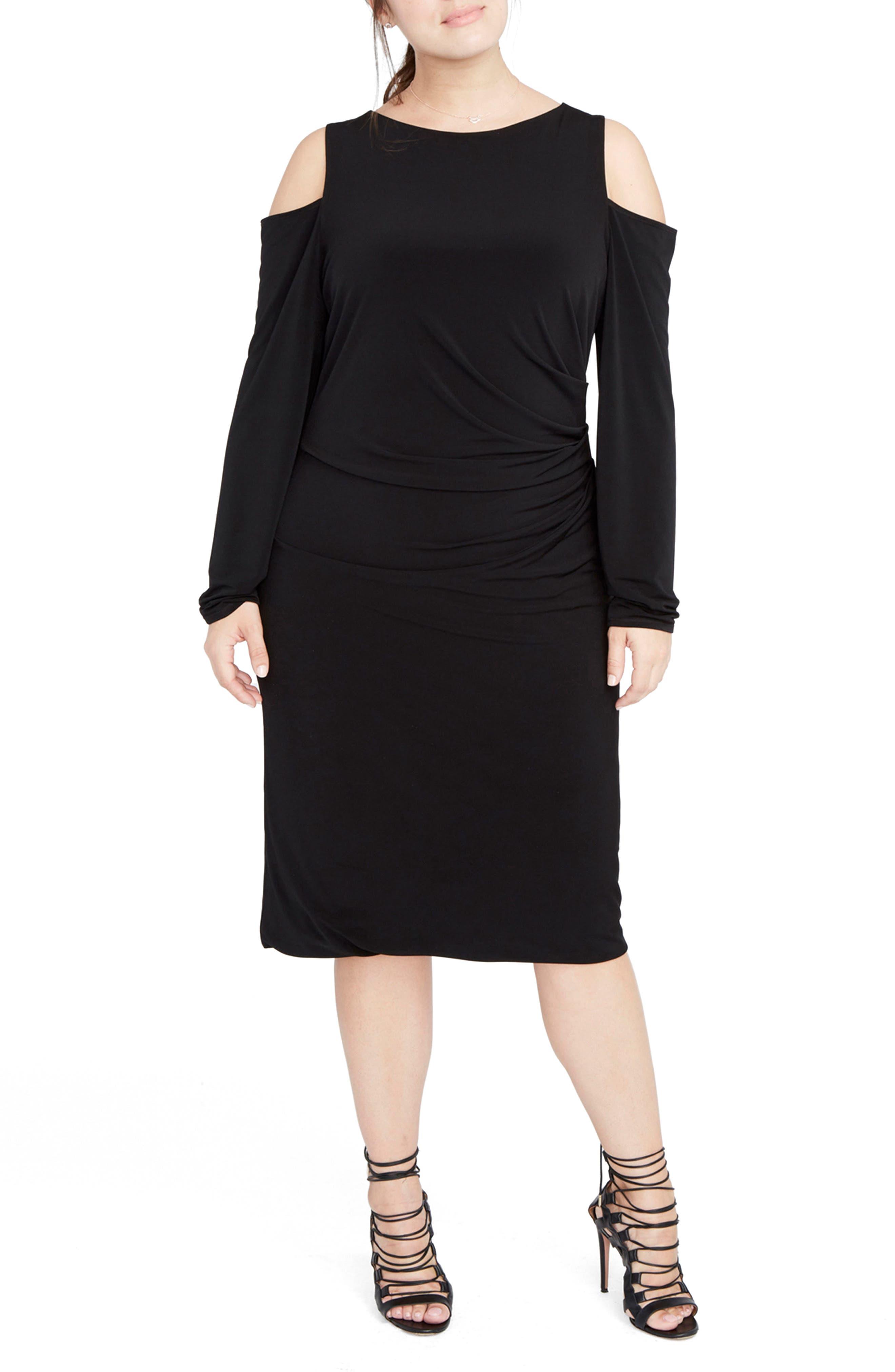 RACHEL Rachel Roy Cold Shoulder Jersey Midi Dress (Plus Size)