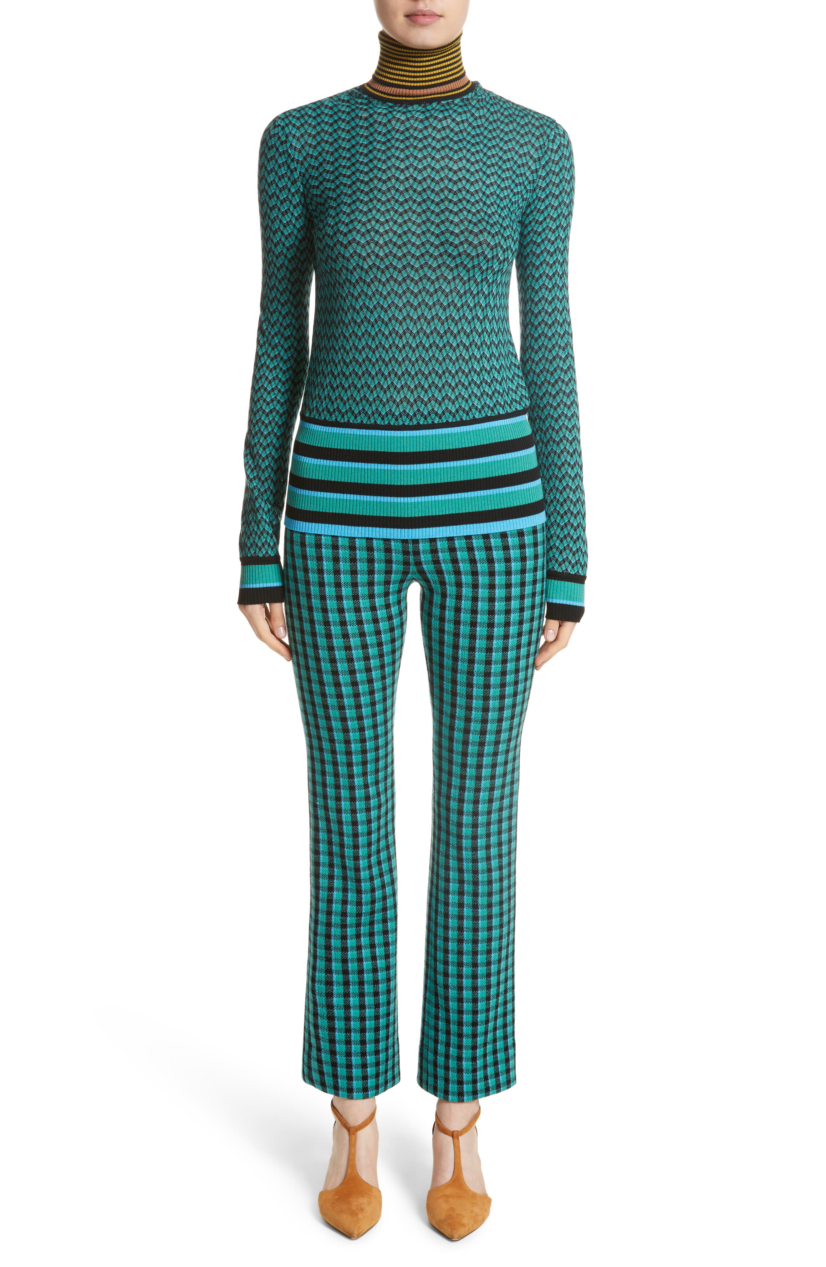 Plaid Stretch Wool Knit Pants,                             Alternate thumbnail 7, color,                             Green/ Blue