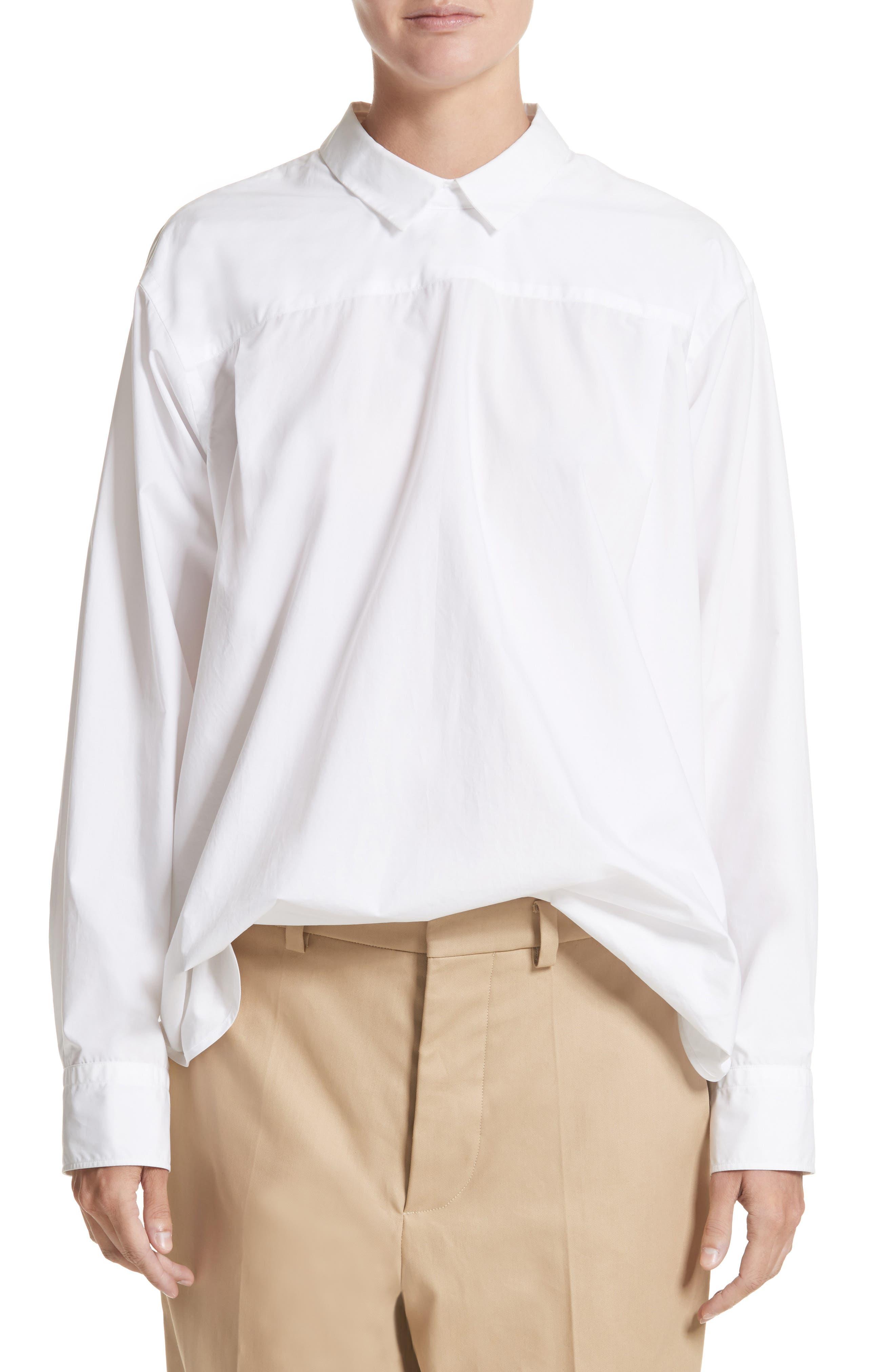 Button Back Poplin Blouse,                         Main,                         color, Bianco