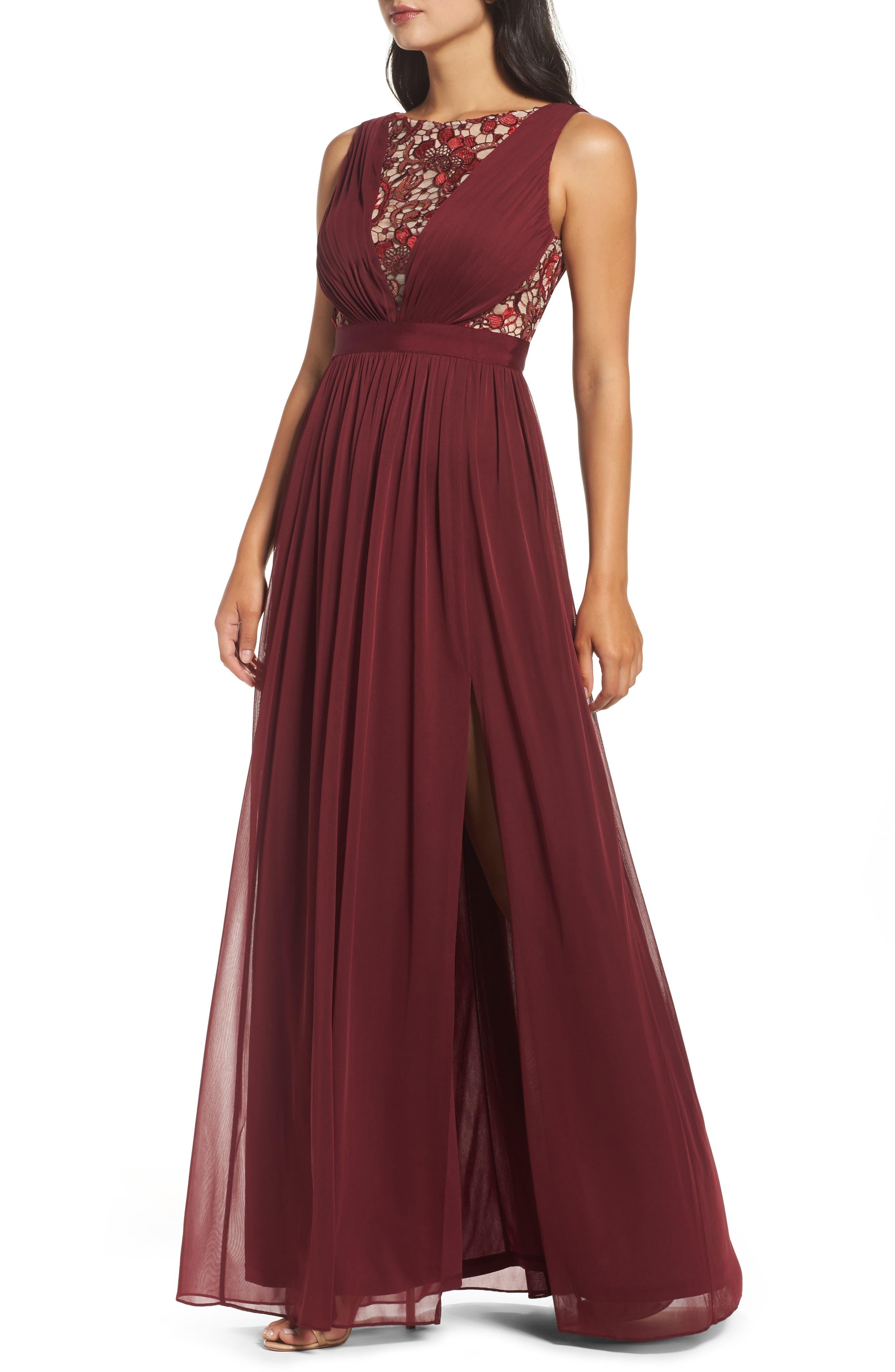 Sequin Lace & Tulle Gown,                             Alternate thumbnail 4, color,                             Black Cherry