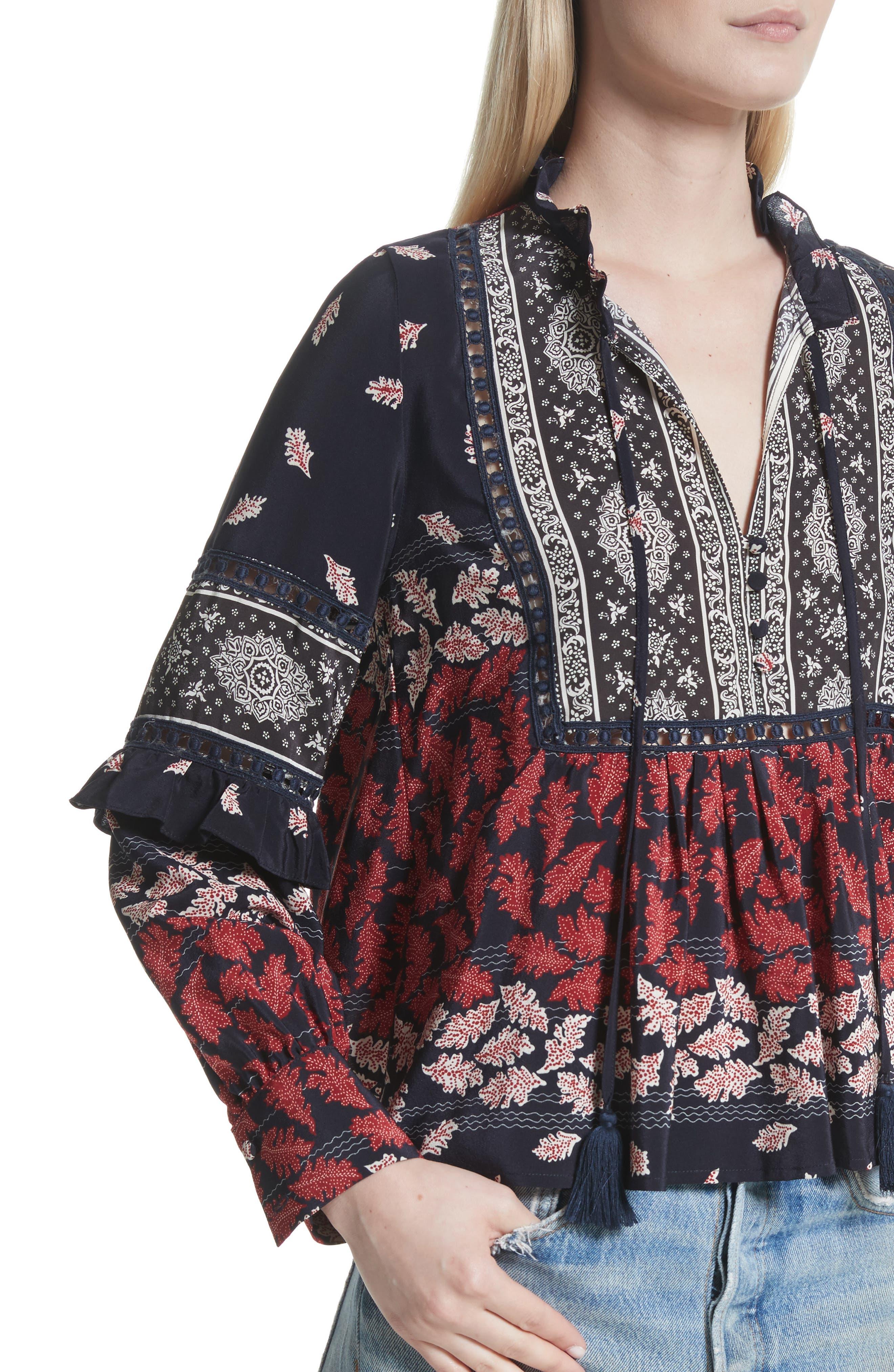 Alternate Image 4  - Sea Eloise Print Silk Blouse